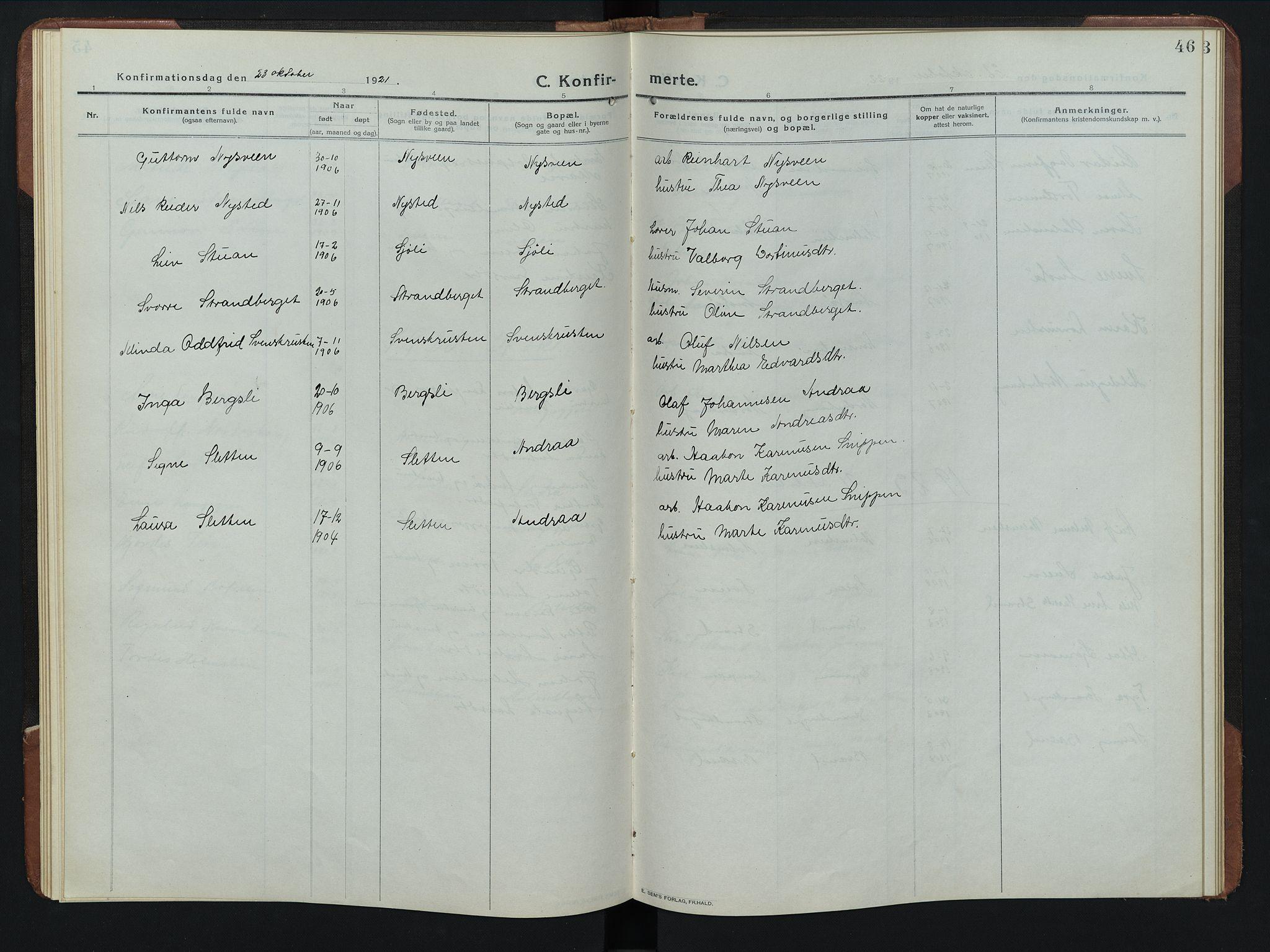 SAH, Rendalen prestekontor, H/Ha/Hab/L0008: Klokkerbok nr. 8, 1914-1948, s. 46
