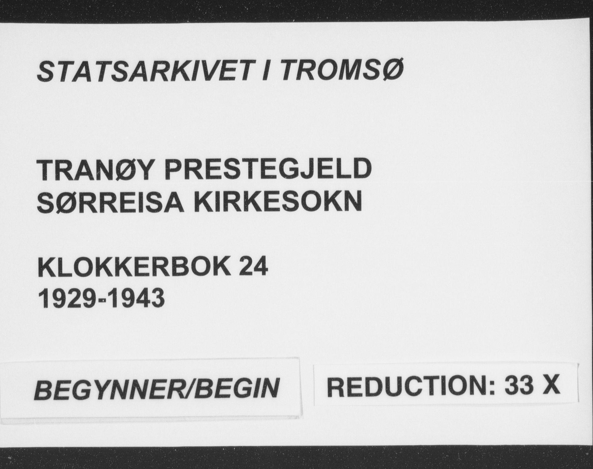 SATØ, Tranøy sokneprestkontor, I/Ia/Iab/L0024klokker: Klokkerbok nr. 24, 1929-1943