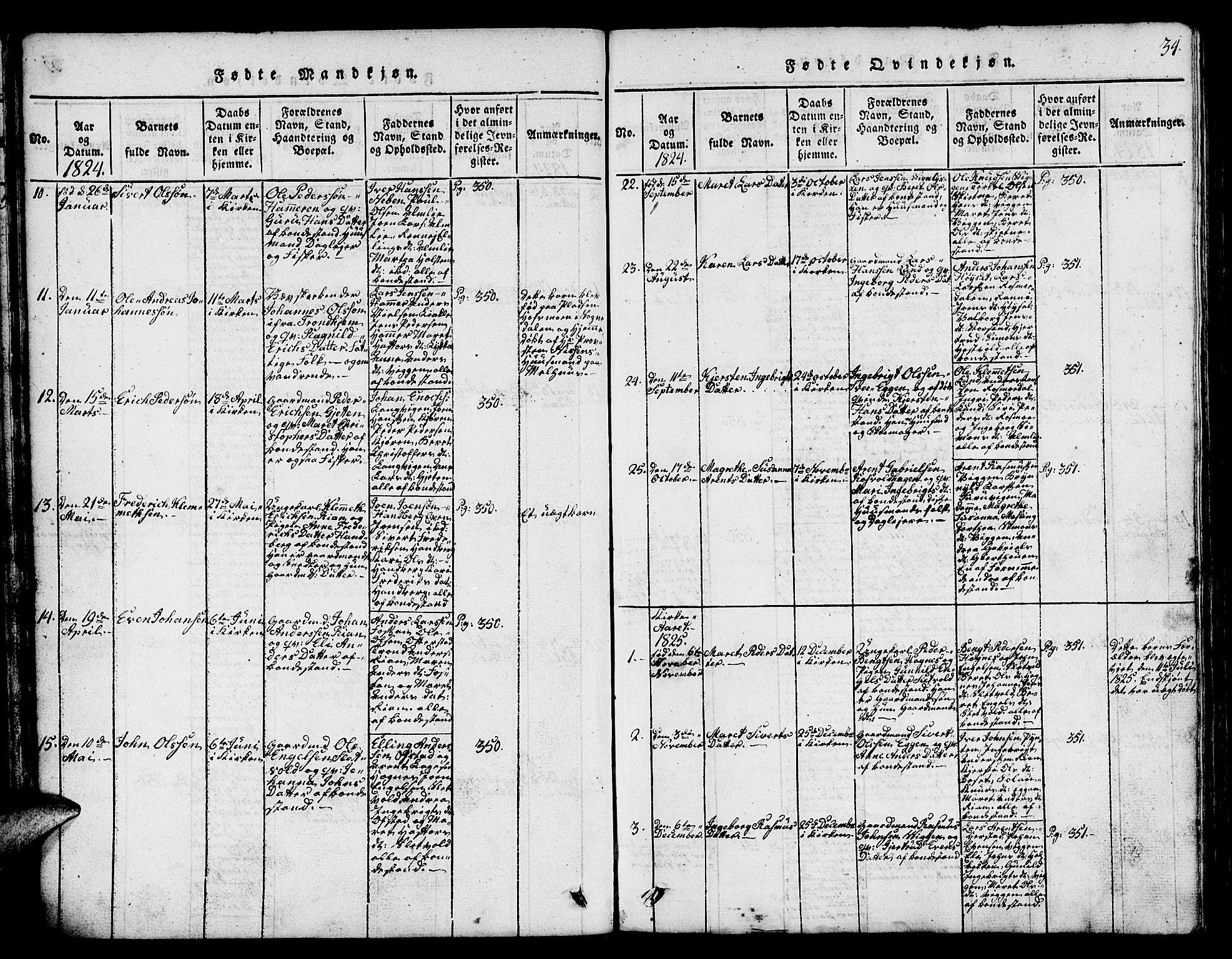 SAT, Ministerialprotokoller, klokkerbøker og fødselsregistre - Sør-Trøndelag, 665/L0776: Klokkerbok nr. 665C01, 1817-1837, s. 34