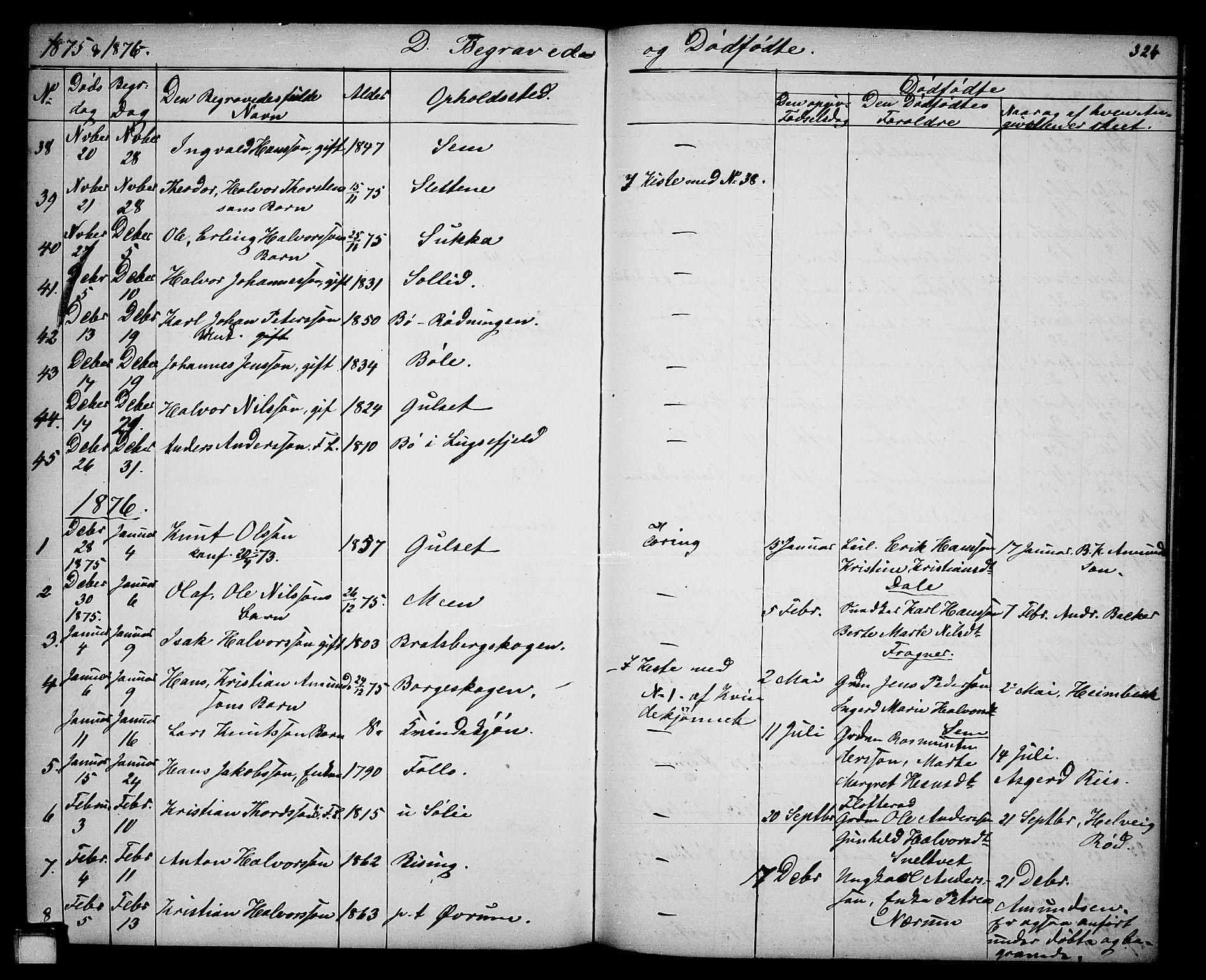 SAKO, Gjerpen kirkebøker, G/Ga/L0001: Klokkerbok nr. I 1, 1864-1882, s. 324