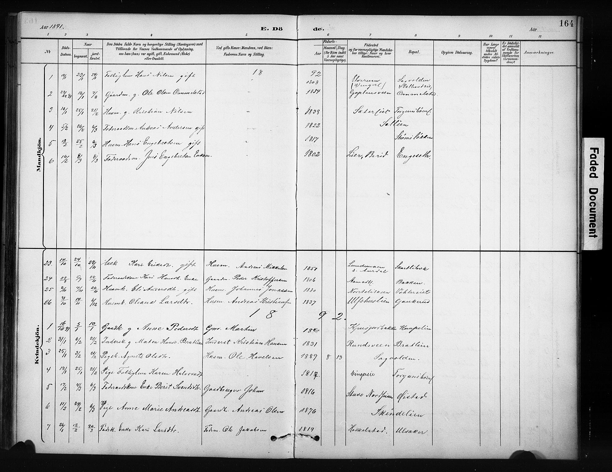 SAH, Nordre Land prestekontor, Klokkerbok nr. 12, 1891-1909, s. 164