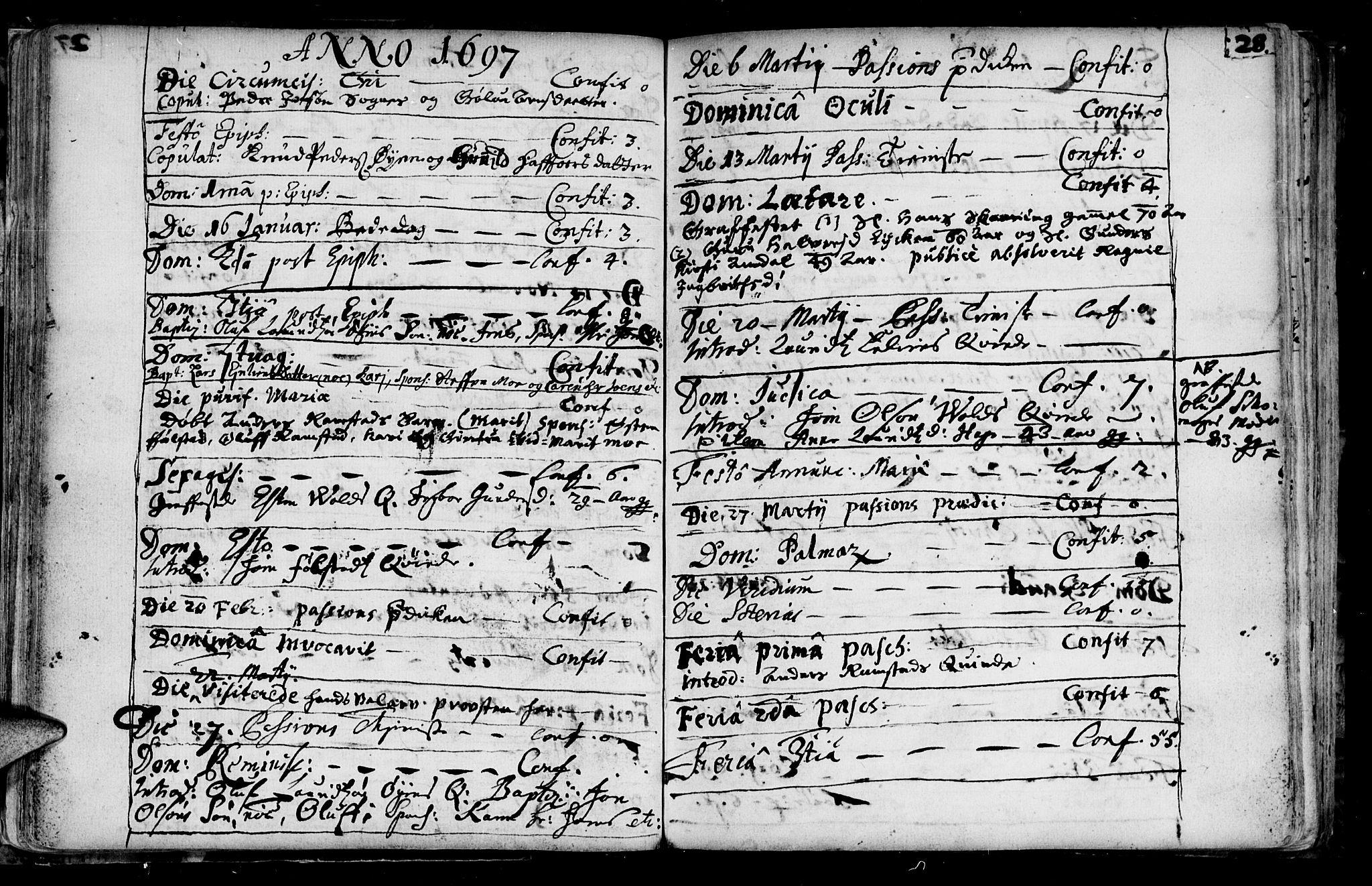 SAT, Ministerialprotokoller, klokkerbøker og fødselsregistre - Sør-Trøndelag, 687/L0990: Ministerialbok nr. 687A01, 1690-1746, s. 28