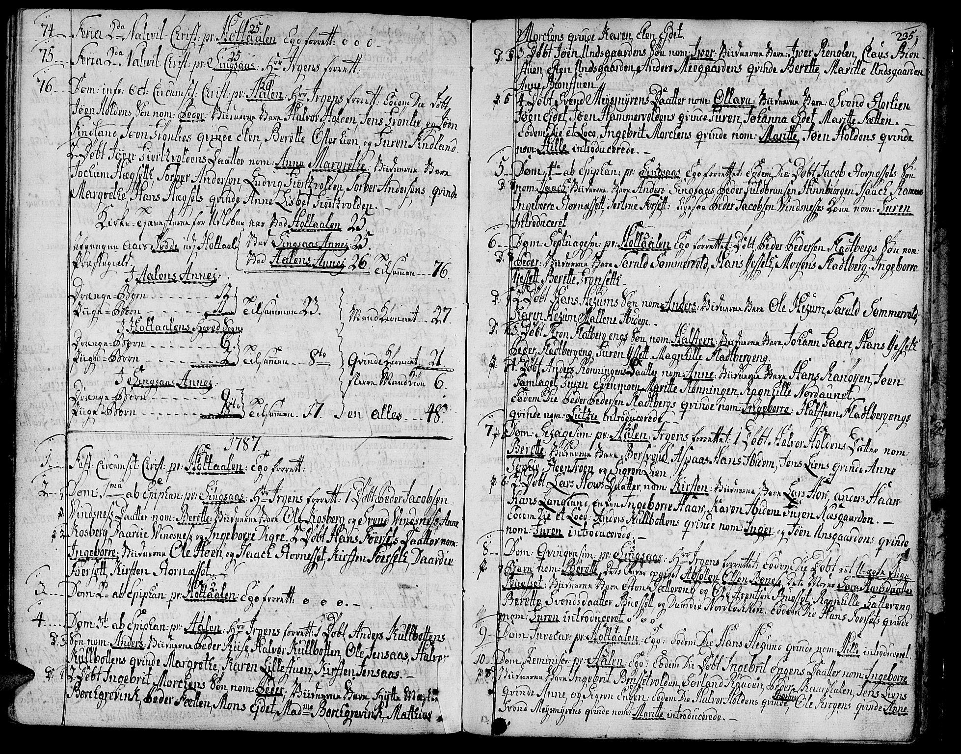 SAT, Ministerialprotokoller, klokkerbøker og fødselsregistre - Sør-Trøndelag, 685/L0952: Ministerialbok nr. 685A01, 1745-1804, s. 235