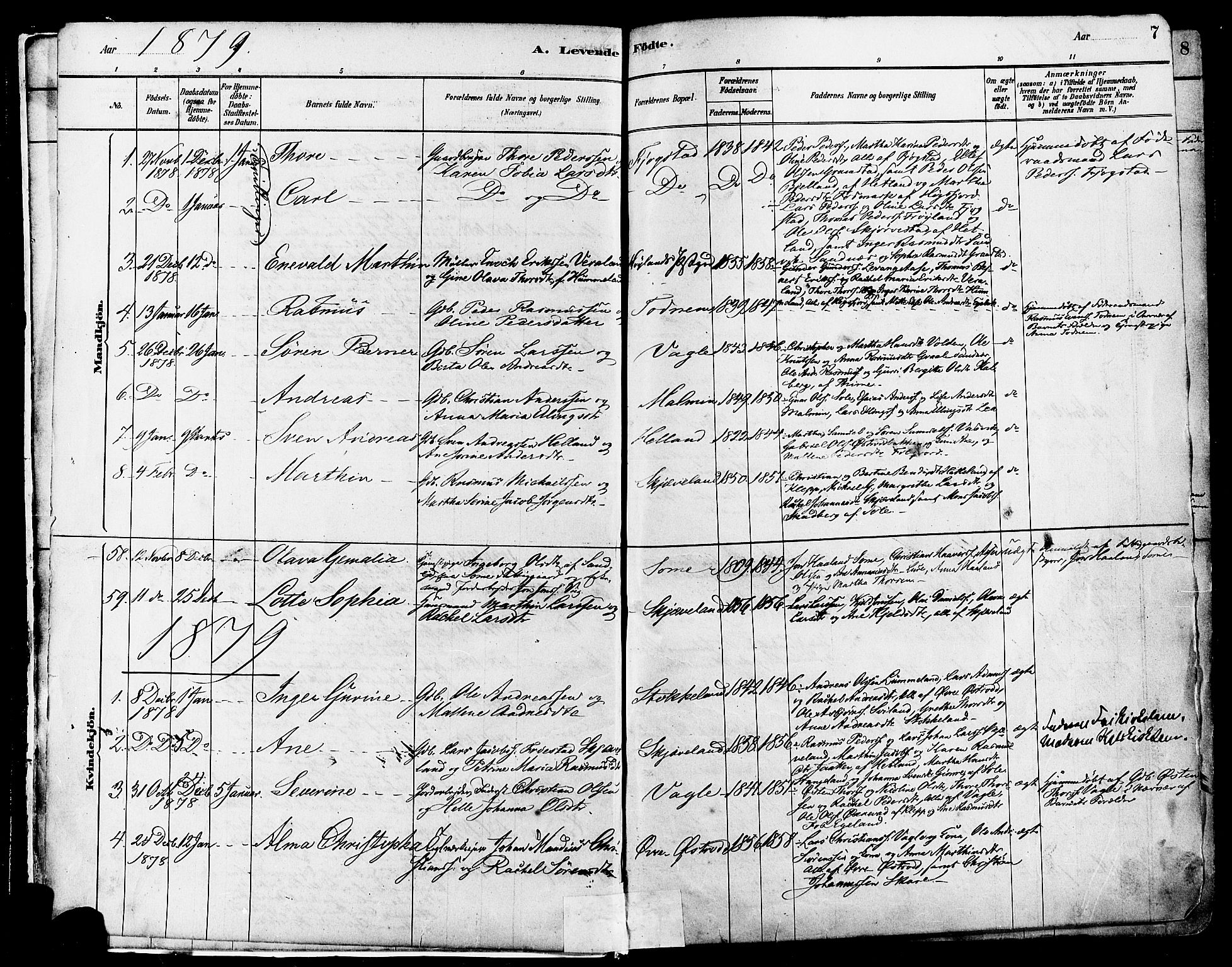 SAST, Høyland sokneprestkontor, 30BA/L0011: Ministerialbok nr. A 10, 1878-1888, s. 7