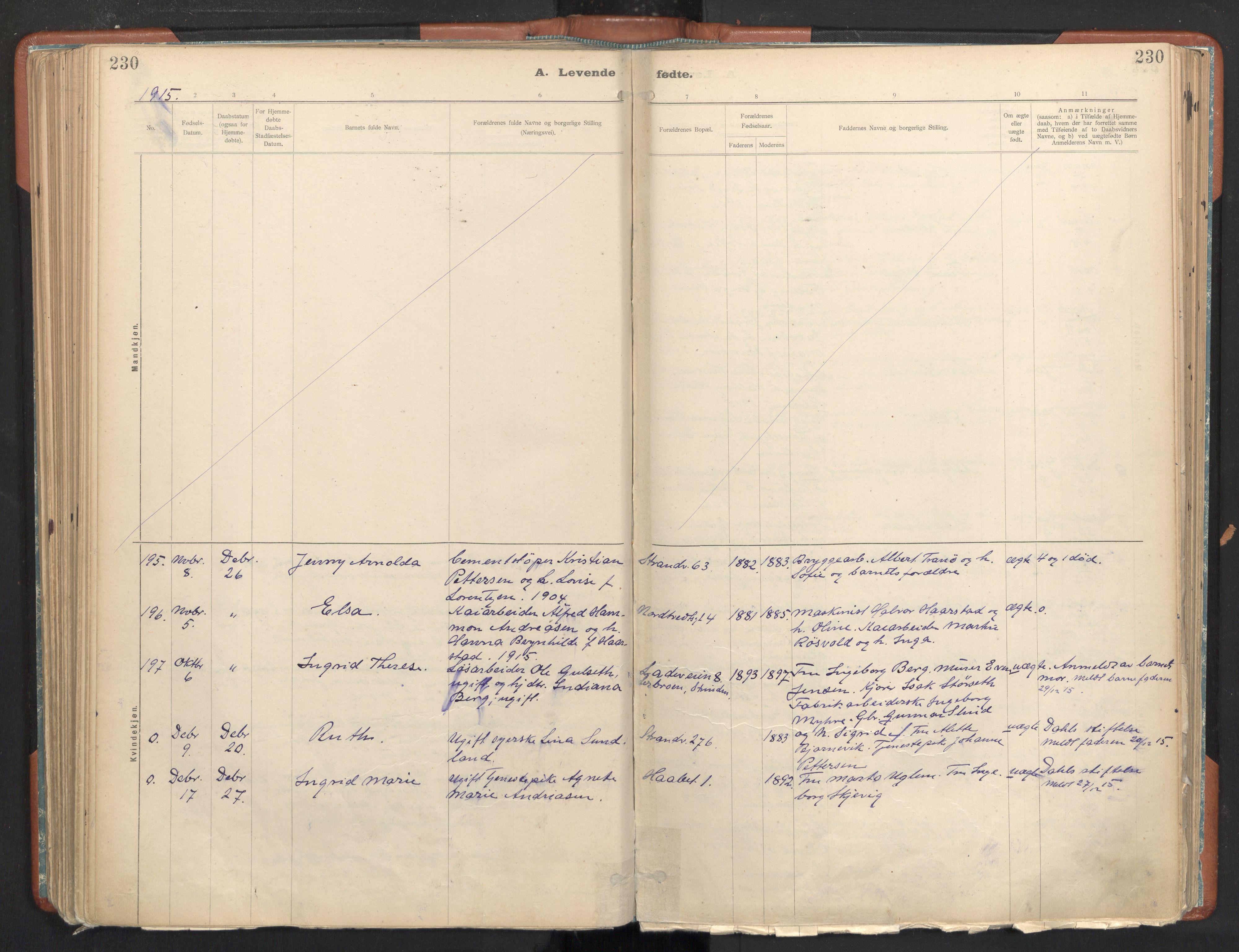 SAT, Ministerialprotokoller, klokkerbøker og fødselsregistre - Sør-Trøndelag, 605/L0243: Ministerialbok nr. 605A05, 1908-1923, s. 230