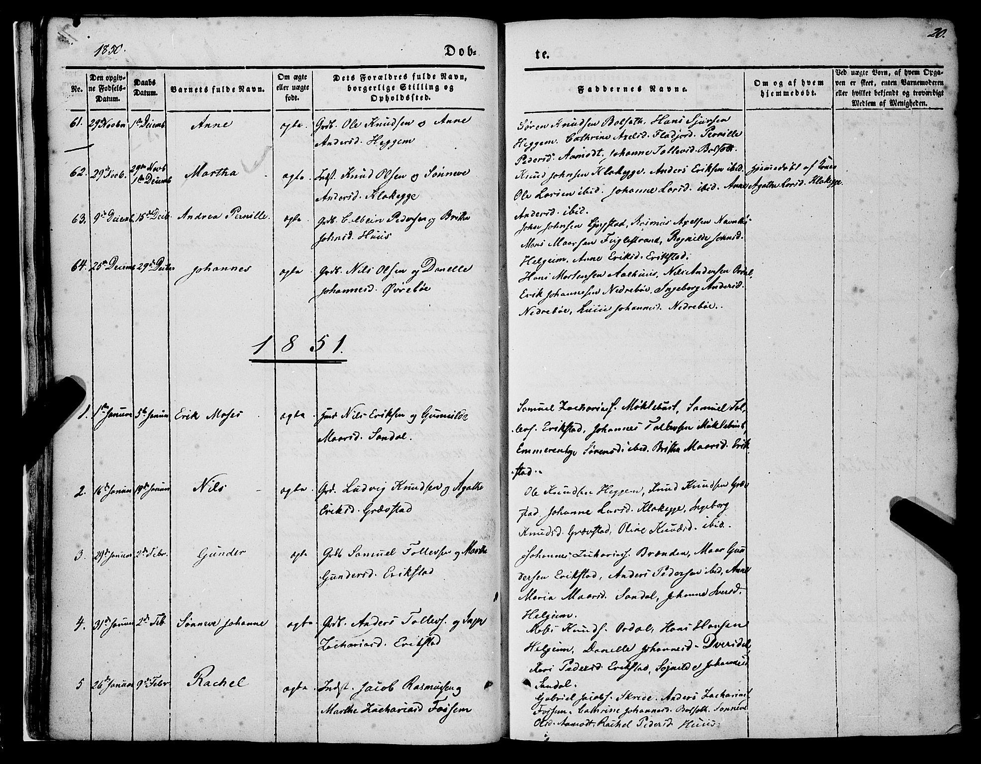 SAB, Jølster Sokneprestembete, H/Haa/Haaa/L0010: Ministerialbok nr. A 10, 1847-1865, s. 20