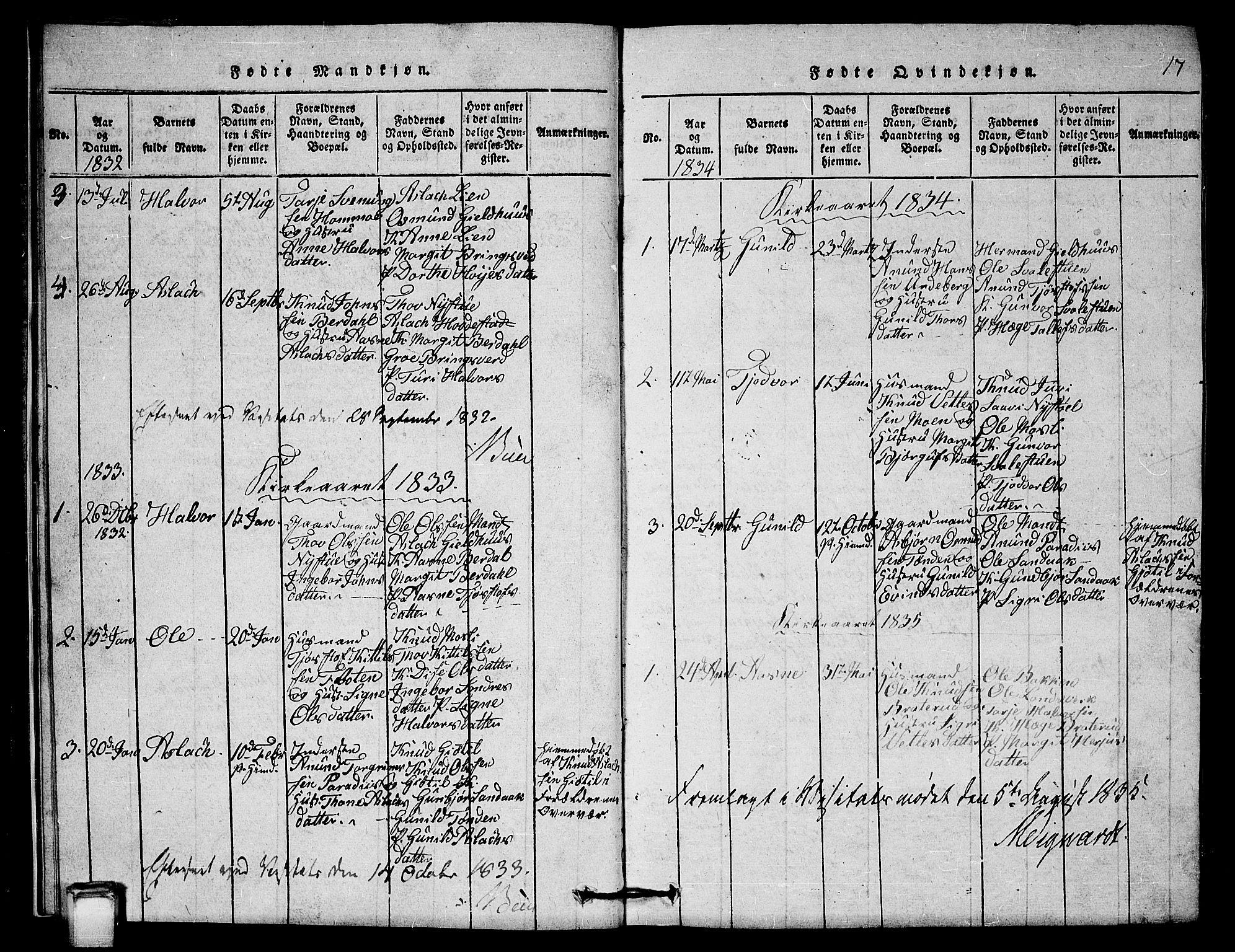 SAKO, Vinje kirkebøker, G/Gb/L0001: Klokkerbok nr. II 1, 1814-1843, s. 17