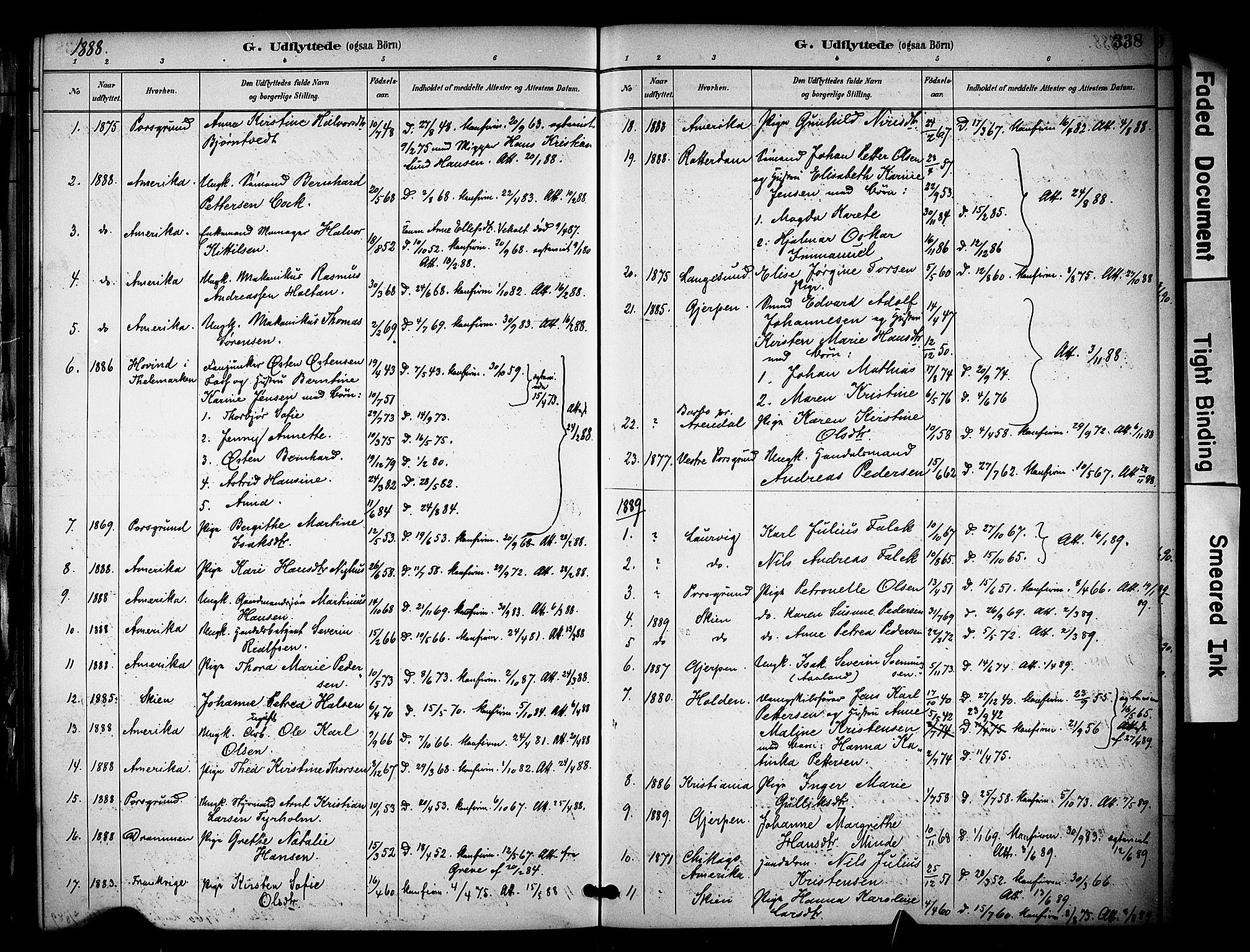 SAKO, Solum kirkebøker, F/Fa/L0010: Ministerialbok nr. I 10, 1888-1898, s. 338