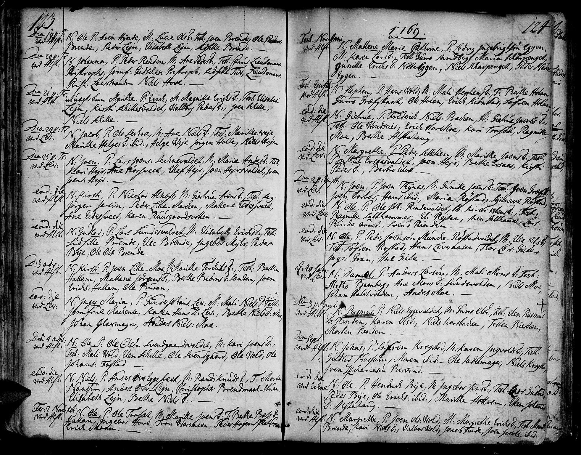 SAT, Ministerialprotokoller, klokkerbøker og fødselsregistre - Nord-Trøndelag, 717/L0141: Ministerialbok nr. 717A01, 1747-1803, s. 123-124