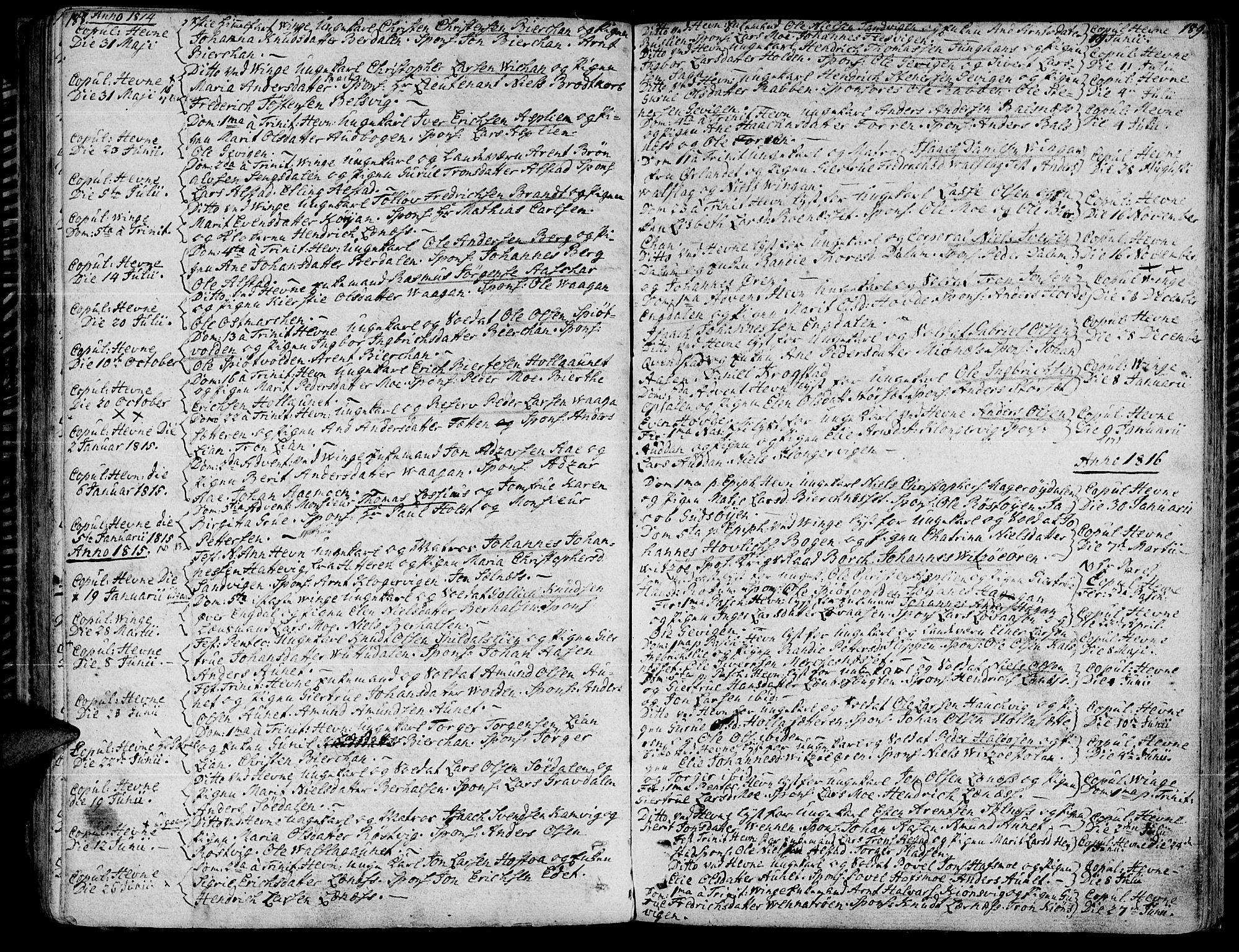 SAT, Ministerialprotokoller, klokkerbøker og fødselsregistre - Sør-Trøndelag, 630/L0490: Ministerialbok nr. 630A03, 1795-1818, s. 188-189