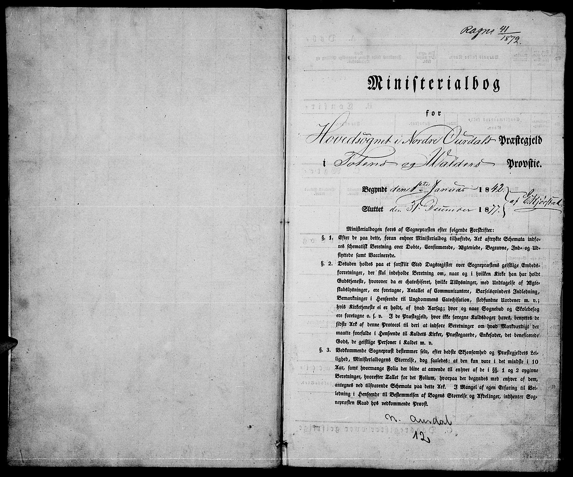 SAH, Nord-Aurdal prestekontor, Klokkerbok nr. 2, 1842-1877