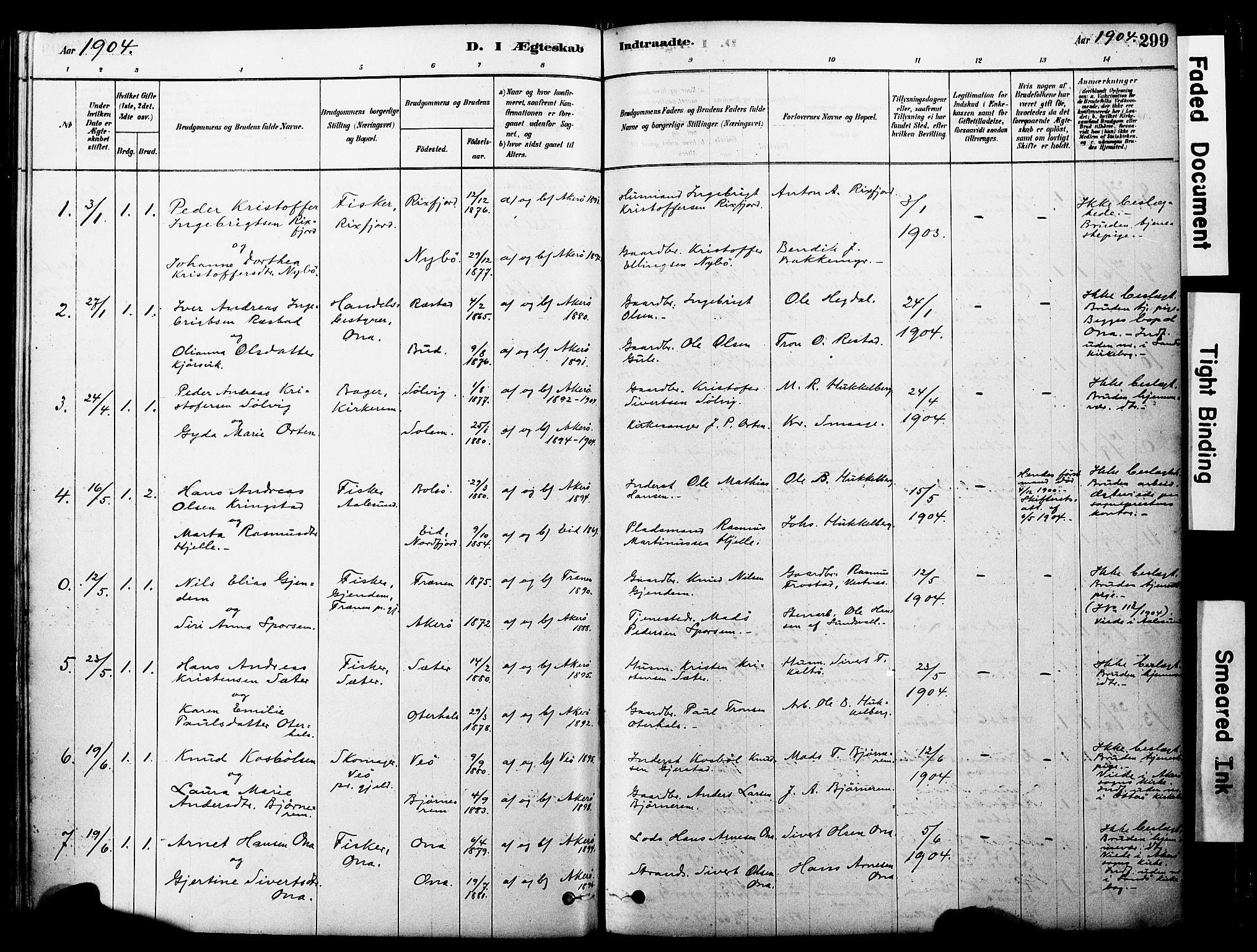 SAT, Ministerialprotokoller, klokkerbøker og fødselsregistre - Møre og Romsdal, 560/L0721: Ministerialbok nr. 560A05, 1878-1917, s. 299