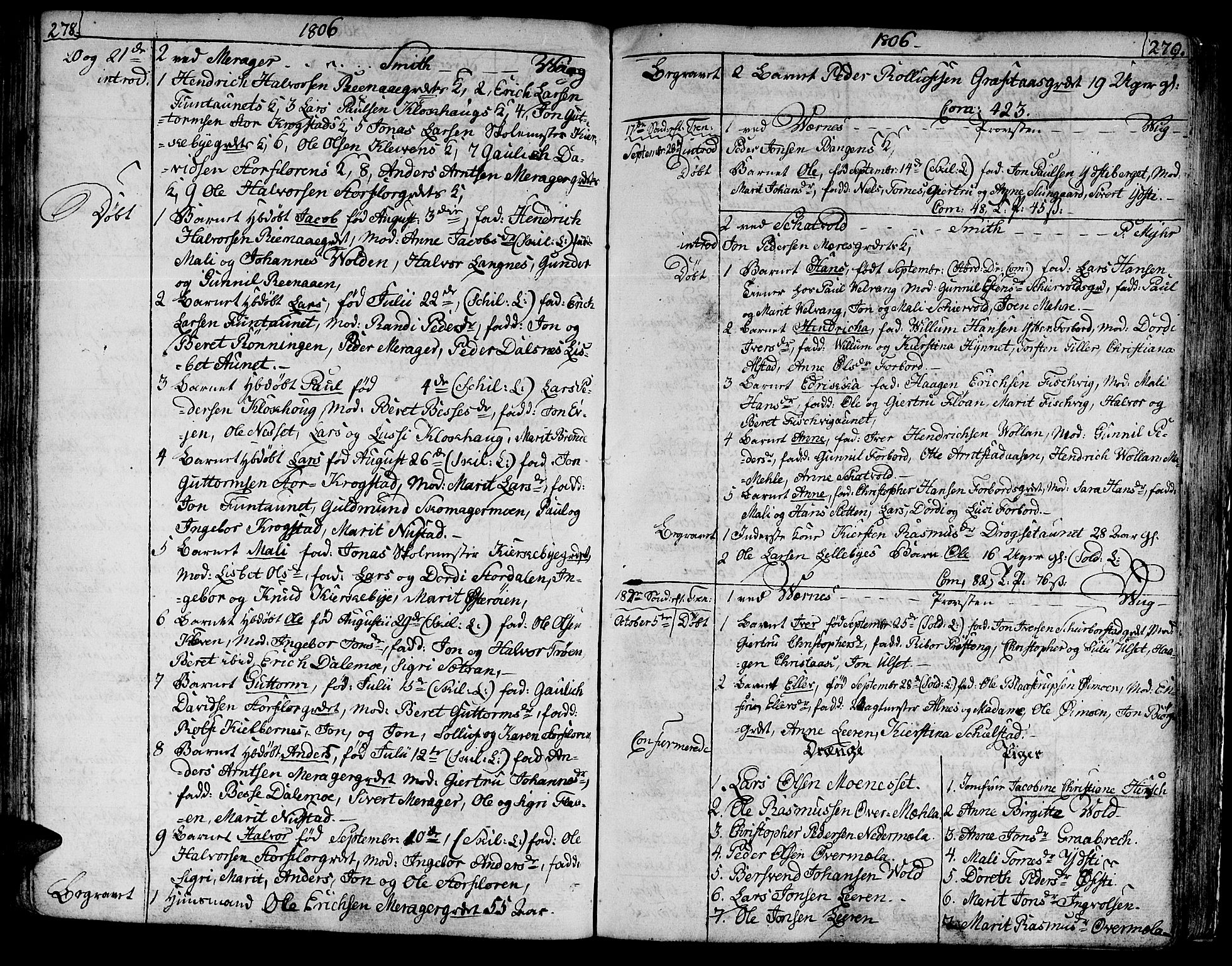 SAT, Ministerialprotokoller, klokkerbøker og fødselsregistre - Nord-Trøndelag, 709/L0060: Ministerialbok nr. 709A07, 1797-1815, s. 278-279