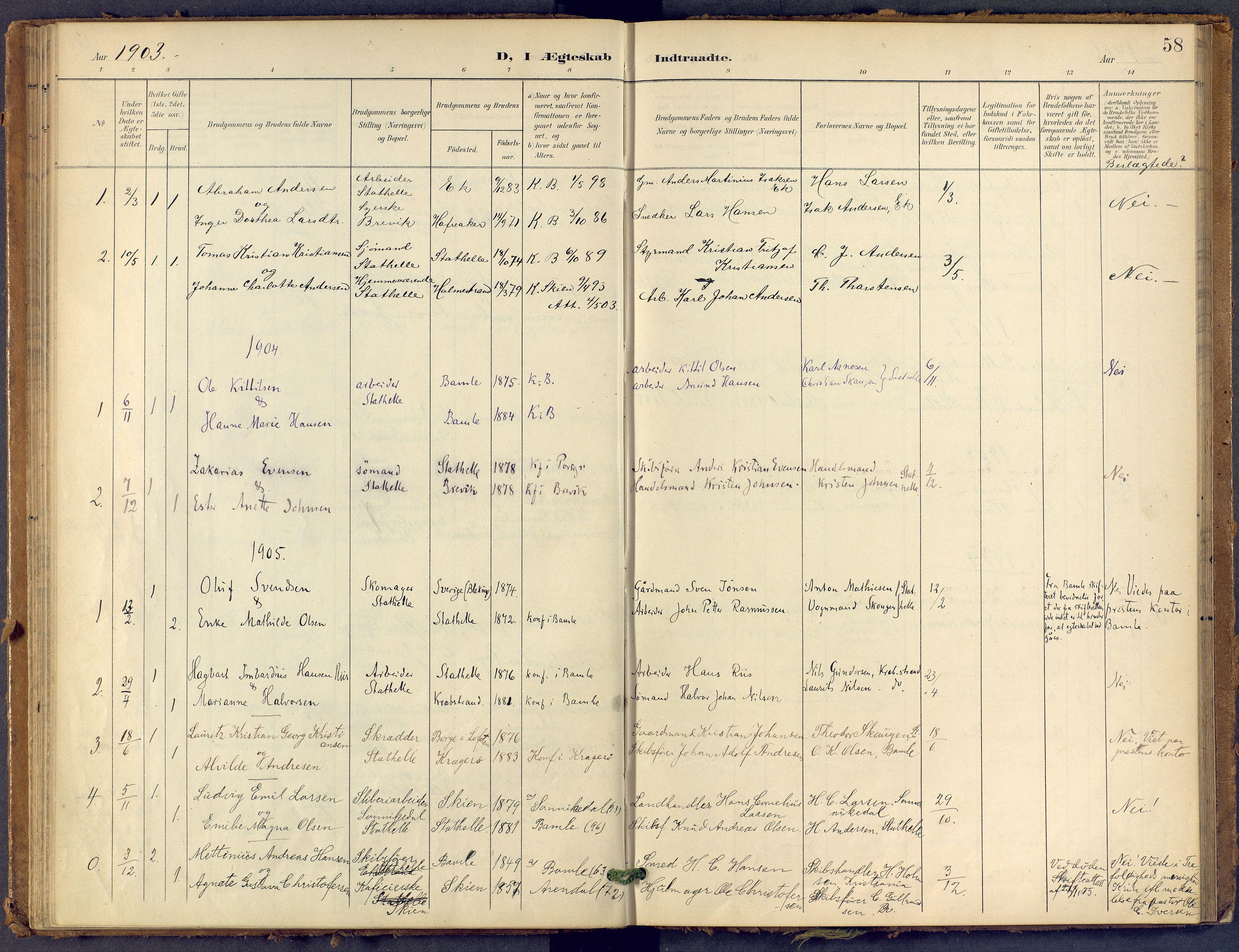 SAKO, Bamble kirkebøker, F/Fb/L0002: Ministerialbok nr. II 2, 1900-1921, s. 58
