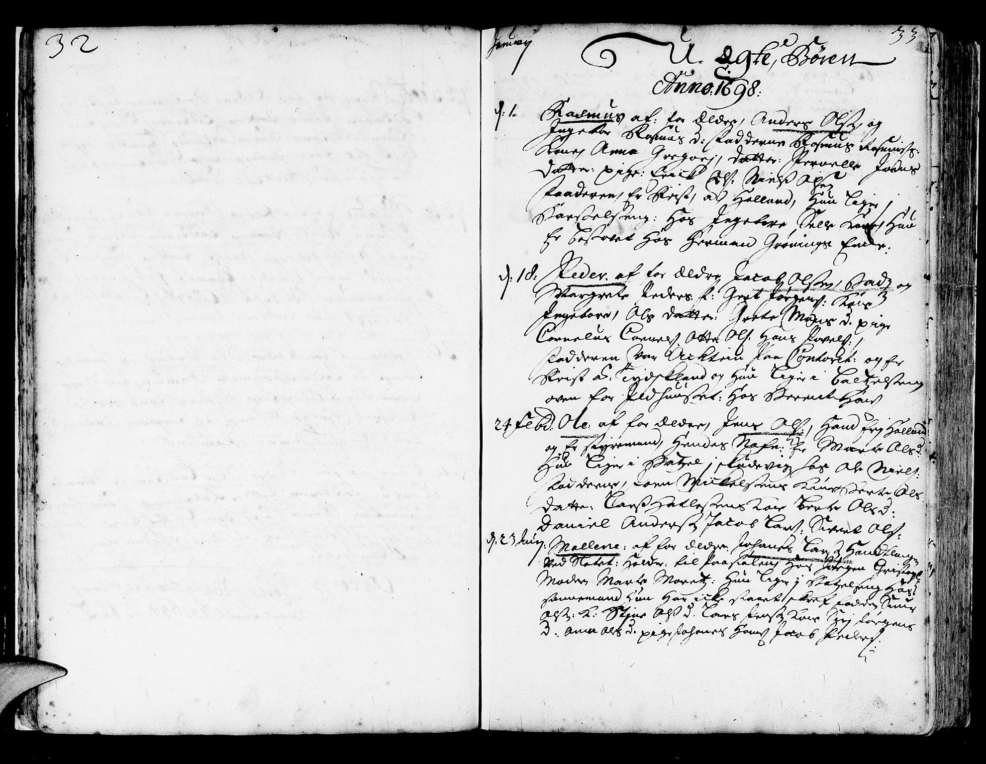 SAB, Korskirken Sokneprestembete, H/Haa/L0003: Ministerialbok nr. A 3, 1698-1719, s. 32-33