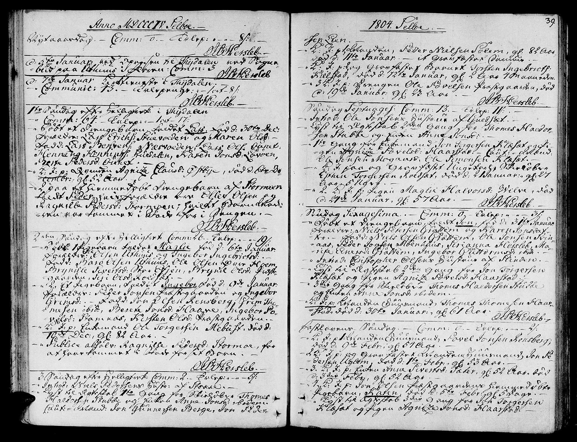 SAT, Ministerialprotokoller, klokkerbøker og fødselsregistre - Sør-Trøndelag, 695/L1140: Ministerialbok nr. 695A03, 1801-1815, s. 39