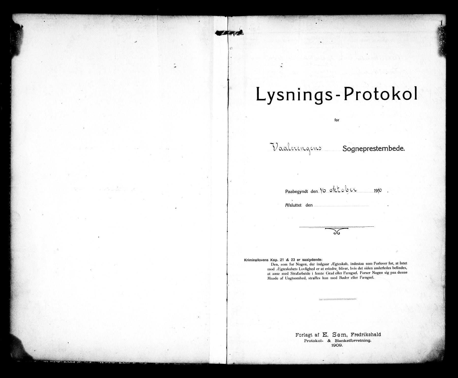 SAO, Vålerengen prestekontor Kirkebøker, H/Ha/L0002: Lysningsprotokoll nr. 2, 1910-1918, s. 1