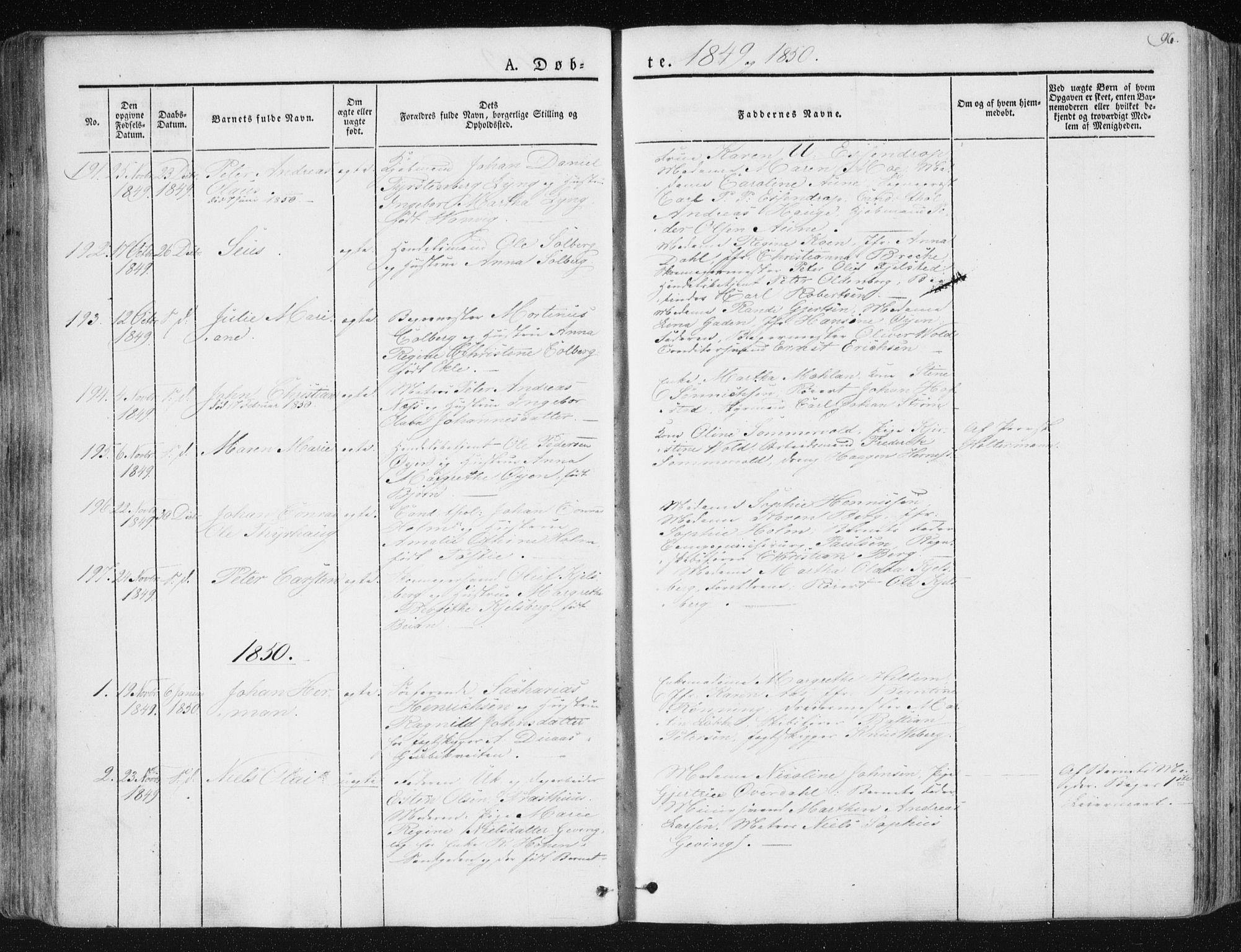 SAT, Ministerialprotokoller, klokkerbøker og fødselsregistre - Sør-Trøndelag, 602/L0110: Ministerialbok nr. 602A08, 1840-1854, s. 96