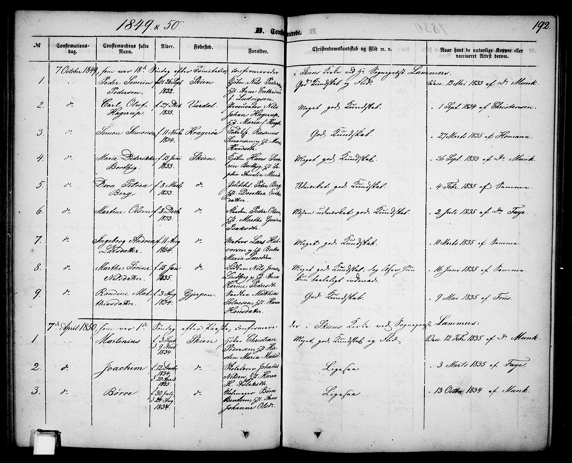 SAKO, Skien kirkebøker, G/Ga/L0004: Klokkerbok nr. 4, 1843-1867, s. 192