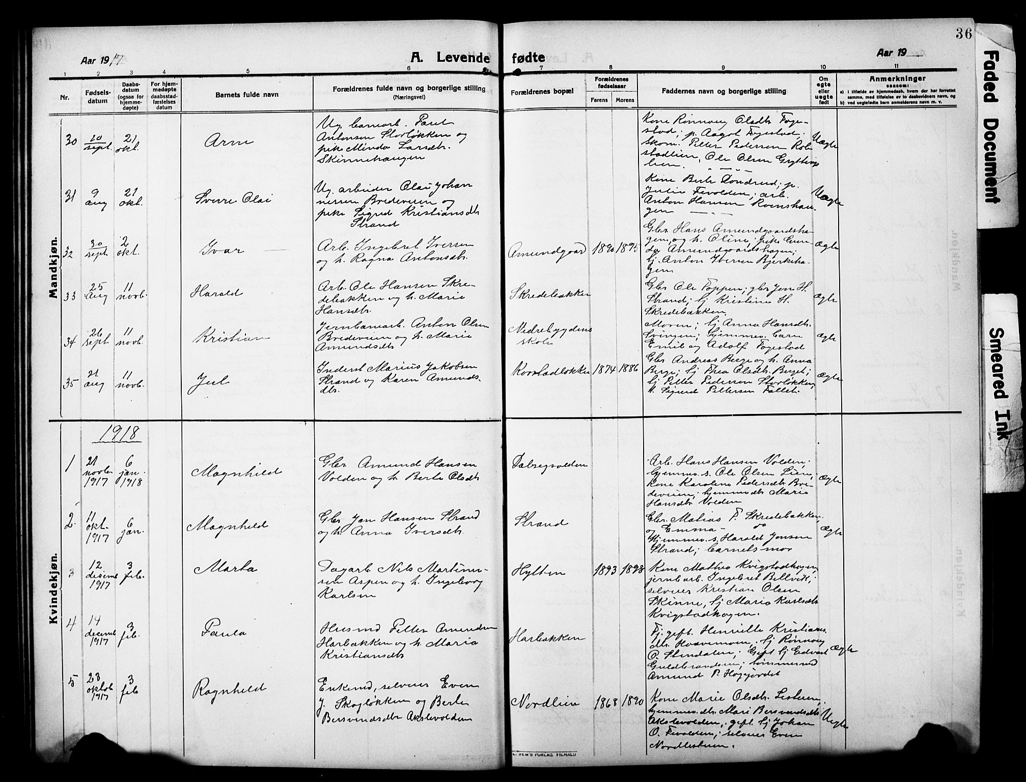 SAH, Sør-Fron prestekontor, H/Ha/Hab/L0005: Klokkerbok nr. 5, 1912-1930, s. 36