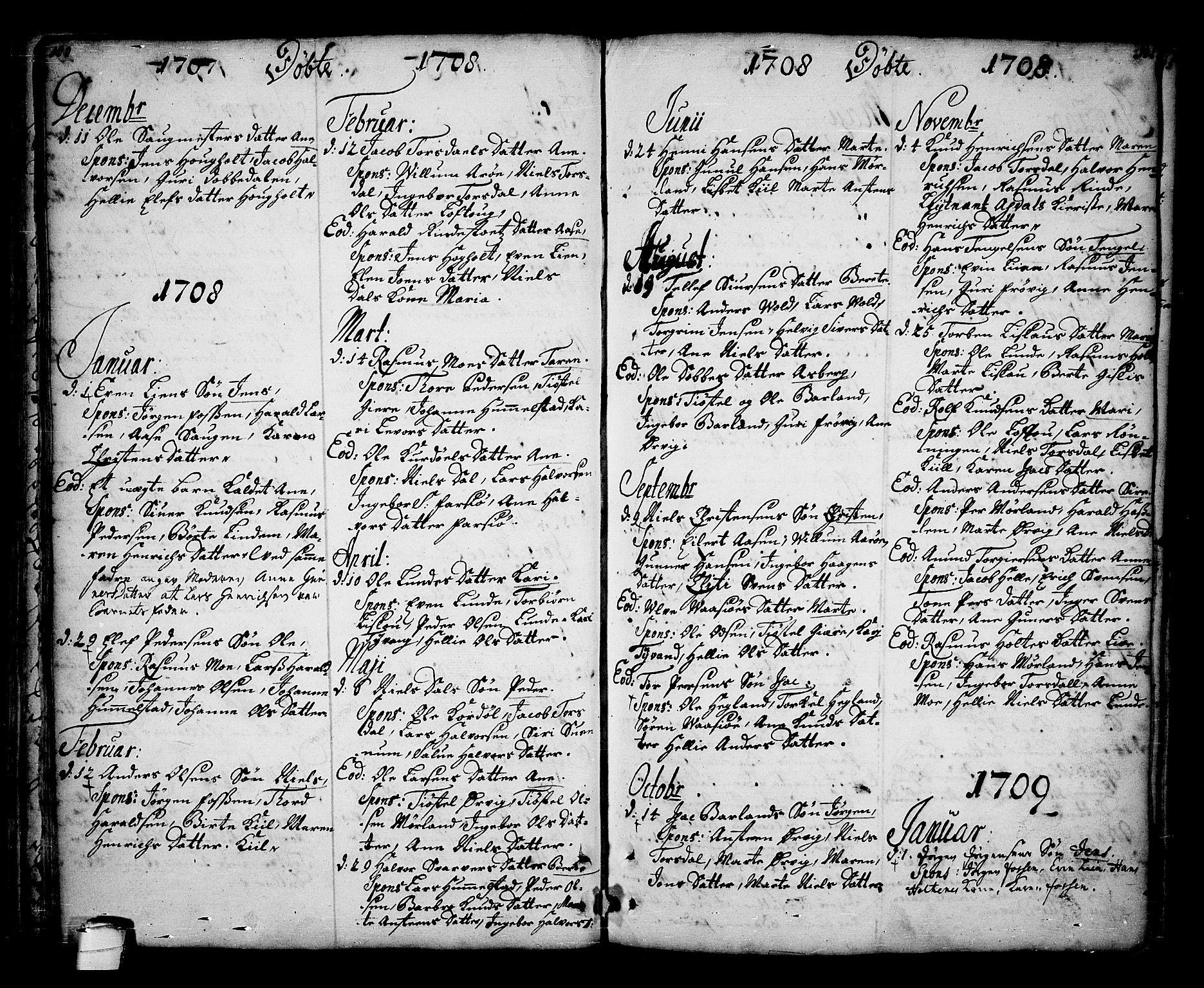 SAKO, Sannidal kirkebøker, F/Fa/L0001: Ministerialbok nr. 1, 1702-1766, s. 100-101