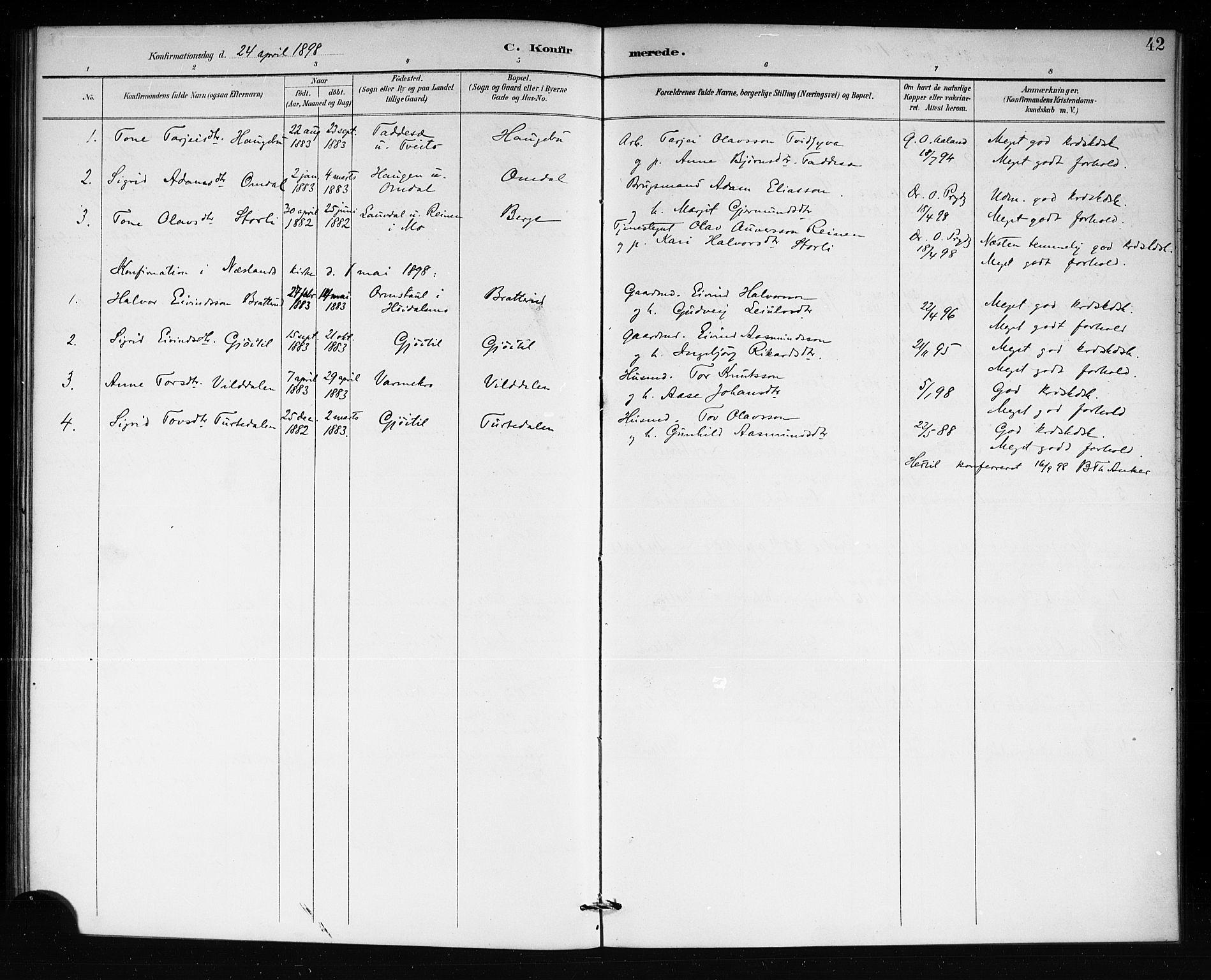SAKO, Lårdal kirkebøker, G/Gb/L0003: Klokkerbok nr. II 3, 1889-1920, s. 42