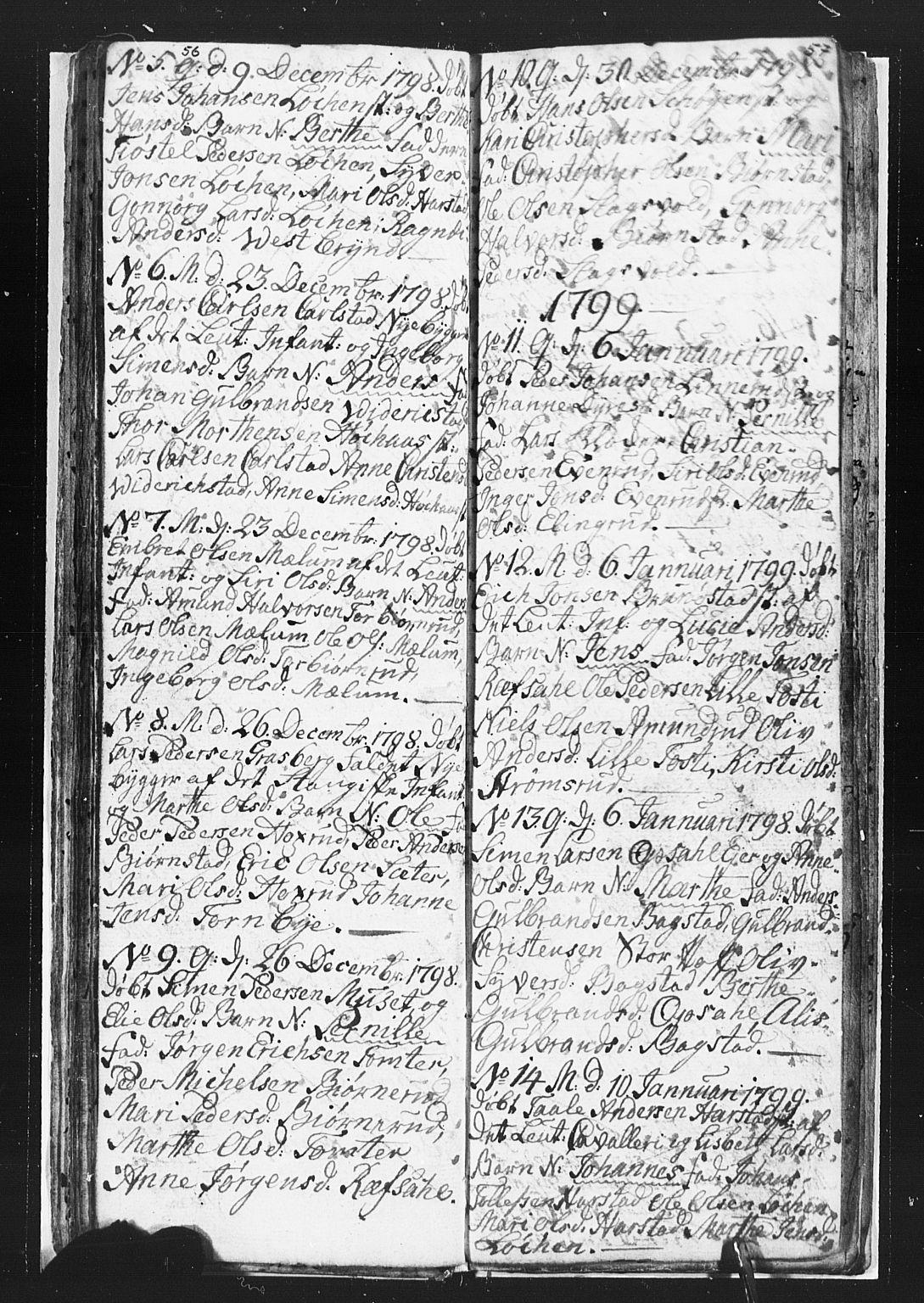 SAH, Romedal prestekontor, L/L0002: Klokkerbok nr. 2, 1795-1800, s. 56-57