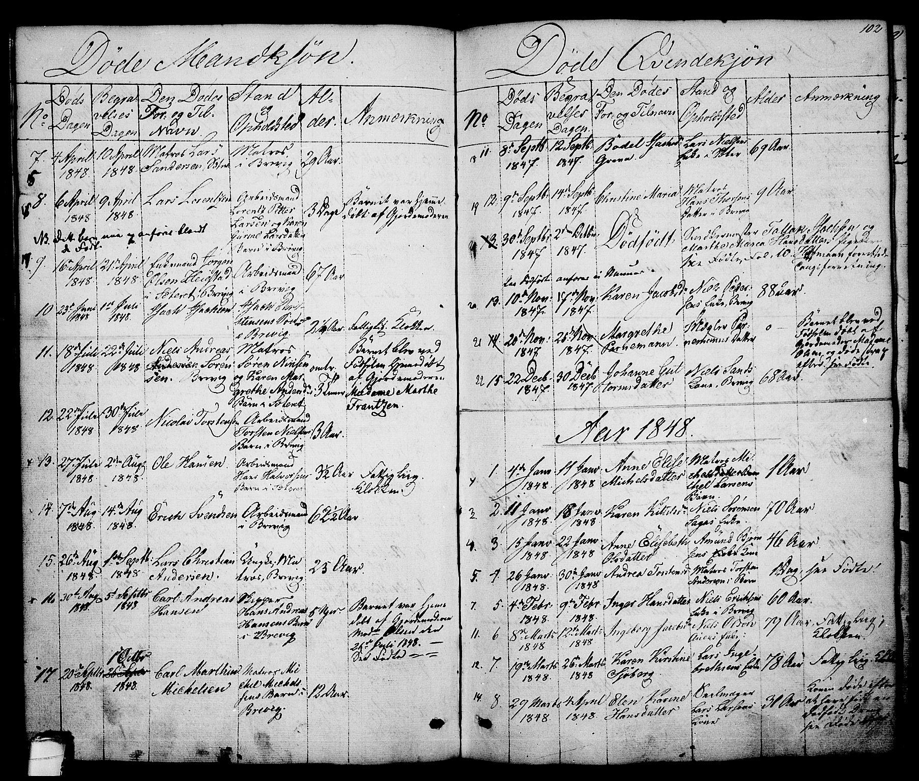 SAKO, Brevik kirkebøker, G/Ga/L0002: Klokkerbok nr. 2, 1846-1865, s. 102
