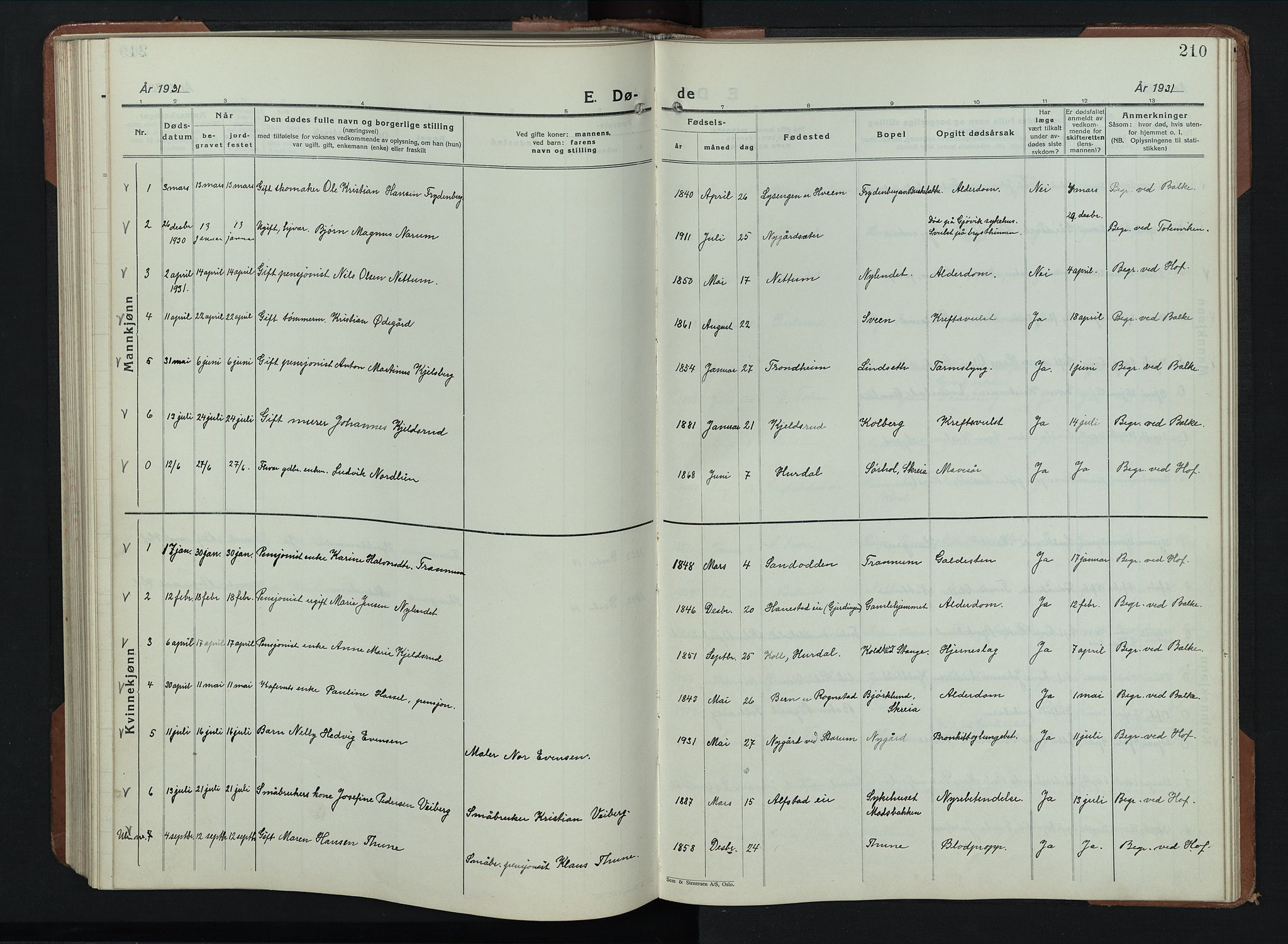 SAH, Balke prestekontor, Klokkerbok nr. 2, 1929-1951, s. 210