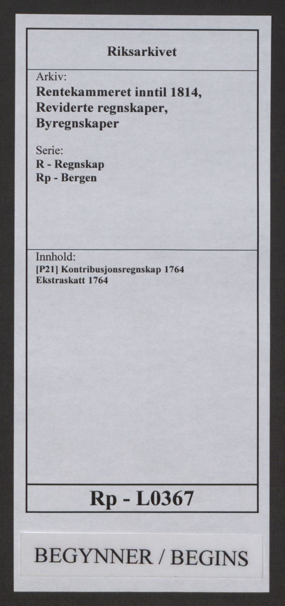 RA, Rentekammeret inntil 1814, Reviderte regnskaper, Byregnskaper, R/Rp/L0367: [P21] Kontribusjonsregnskap, 1764, s. 1