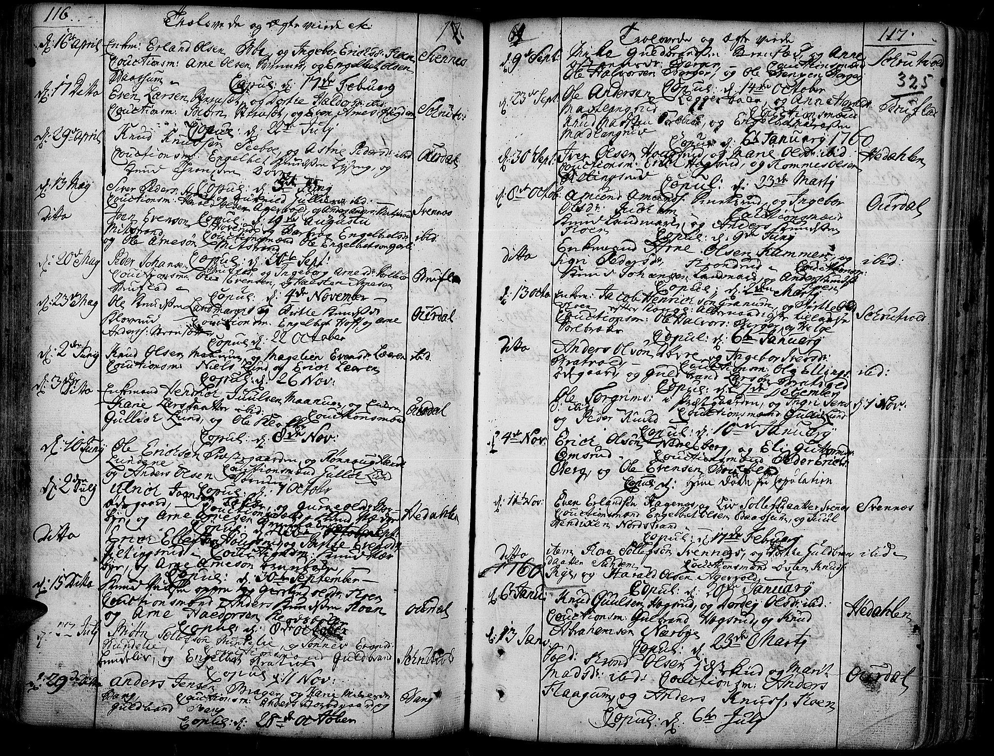 SAH, Aurdal prestekontor, Ministerialbok nr. 4, 1730-1762, s. 116-117