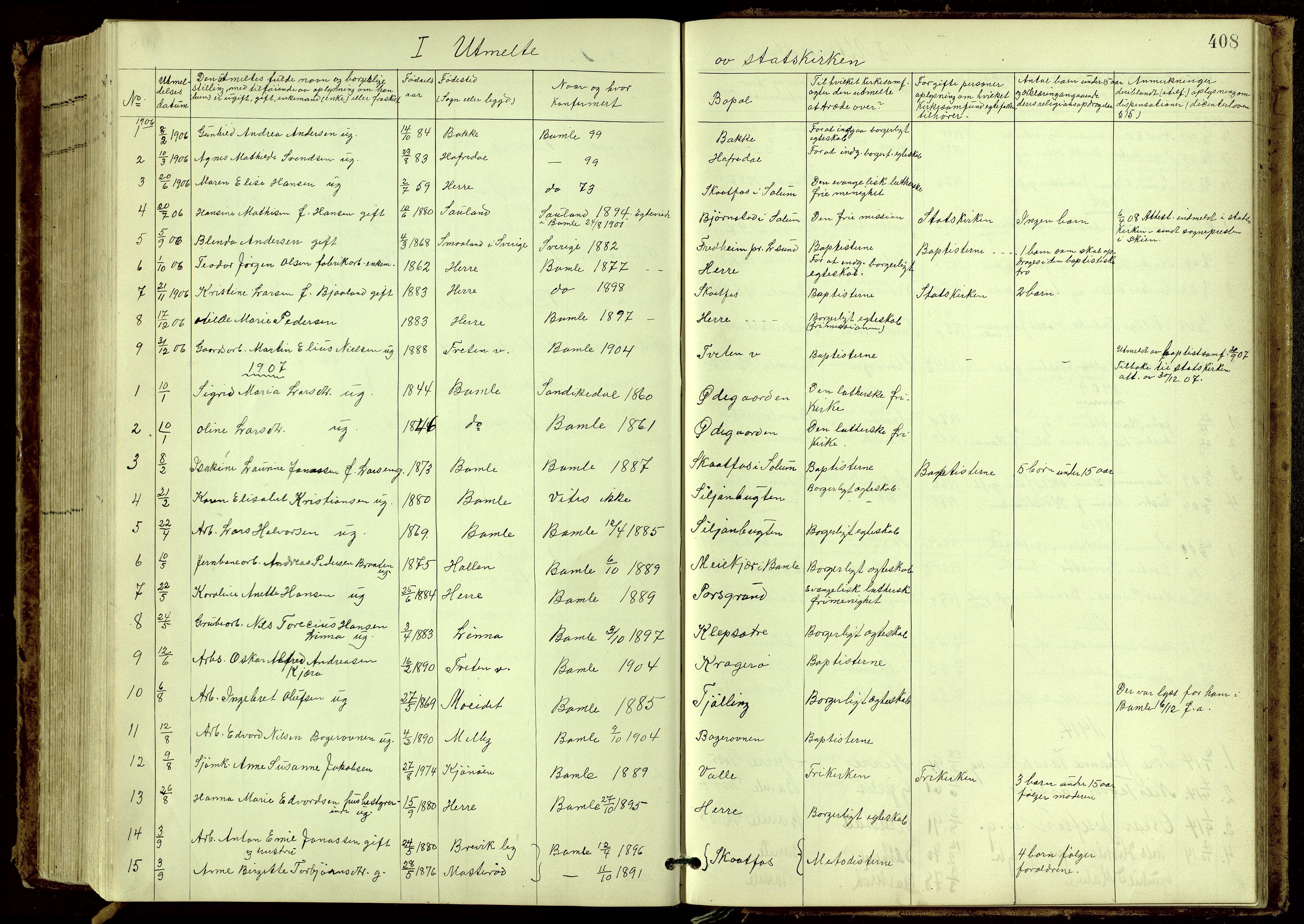 SAKO, Bamble kirkebøker, G/Ga/L0010: Klokkerbok nr. I 10, 1901-1919, s. 408