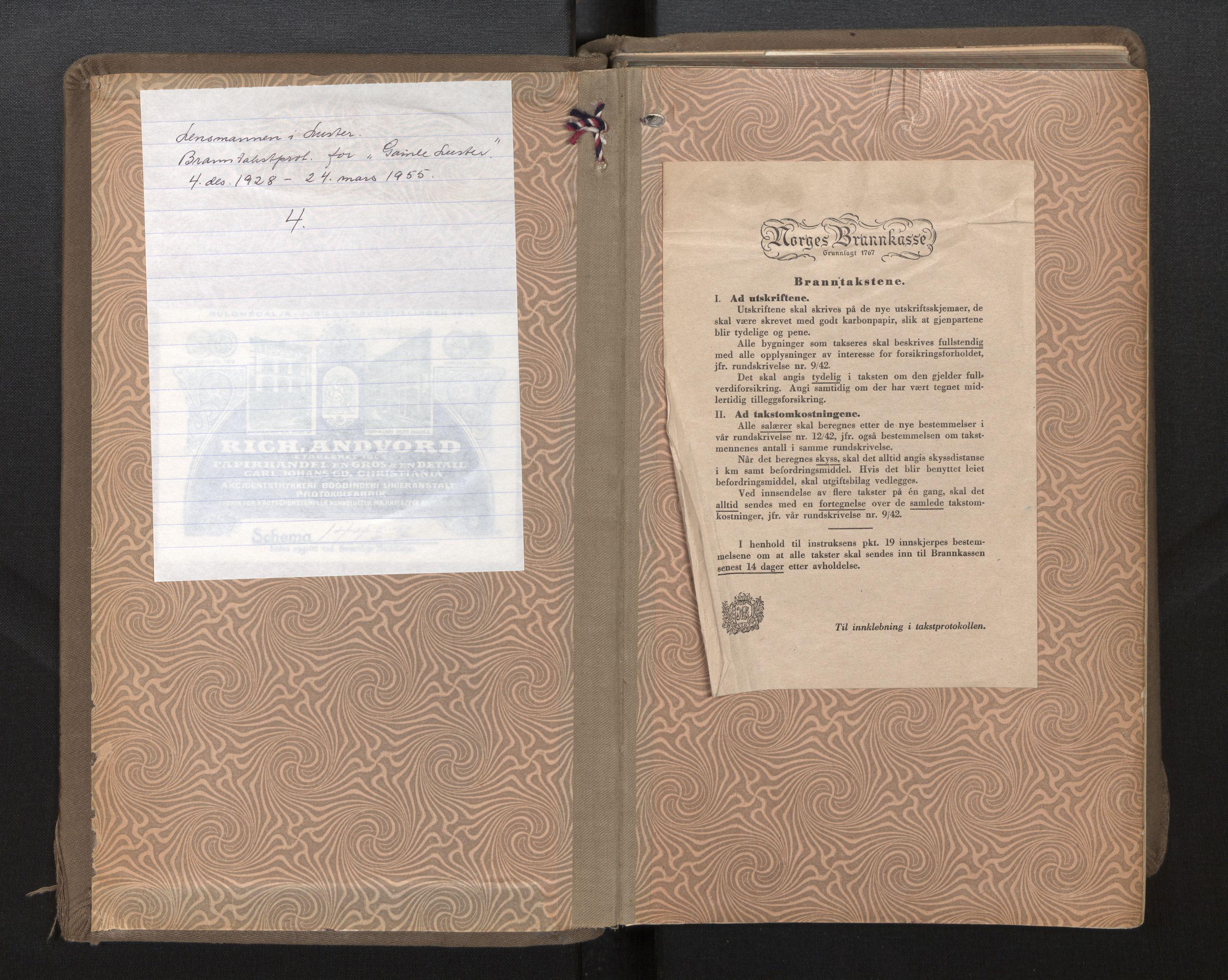 SAB, Lensmannen i Luster, 0012/L0005: Branntakstprotokoll, 1928-1955