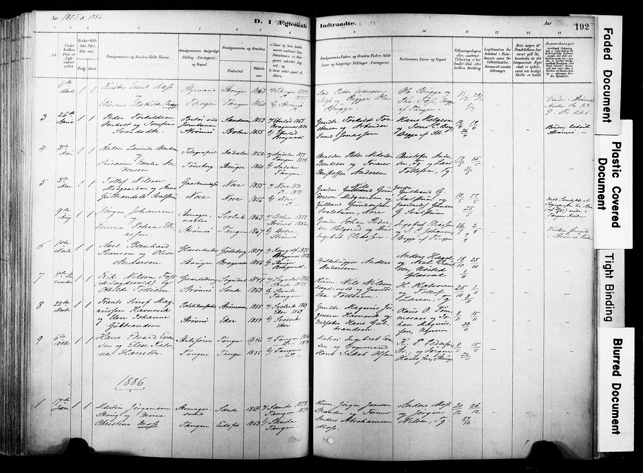 SAKO, Strømsø kirkebøker, F/Fb/L0006: Ministerialbok nr. II 6, 1879-1910, s. 192