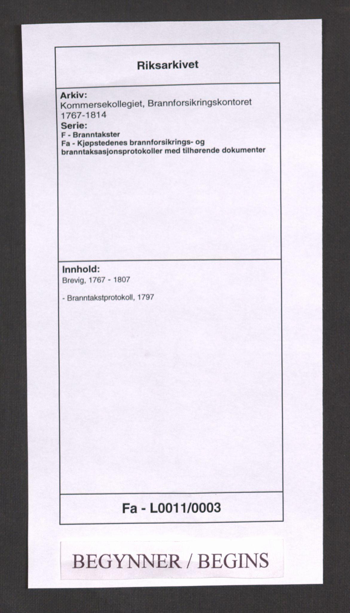 RA, Kommersekollegiet, Brannforsikringskontoret 1767-1814, F/Fa/L0011: Brevik, 1797