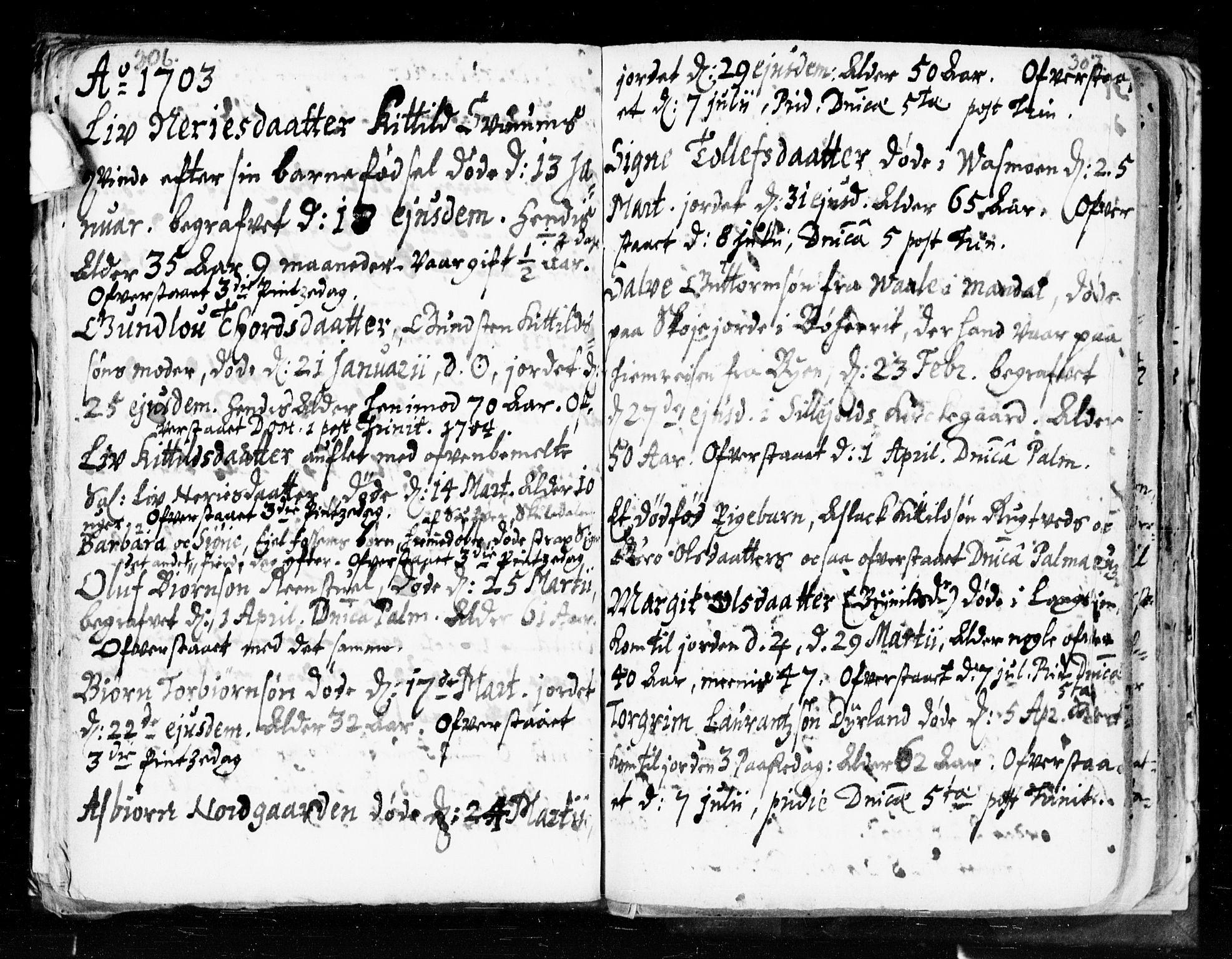 SAKO, Seljord kirkebøker, F/Fa/L0002: Ministerialbok nr. I 2, 1689-1713, s. 306-307