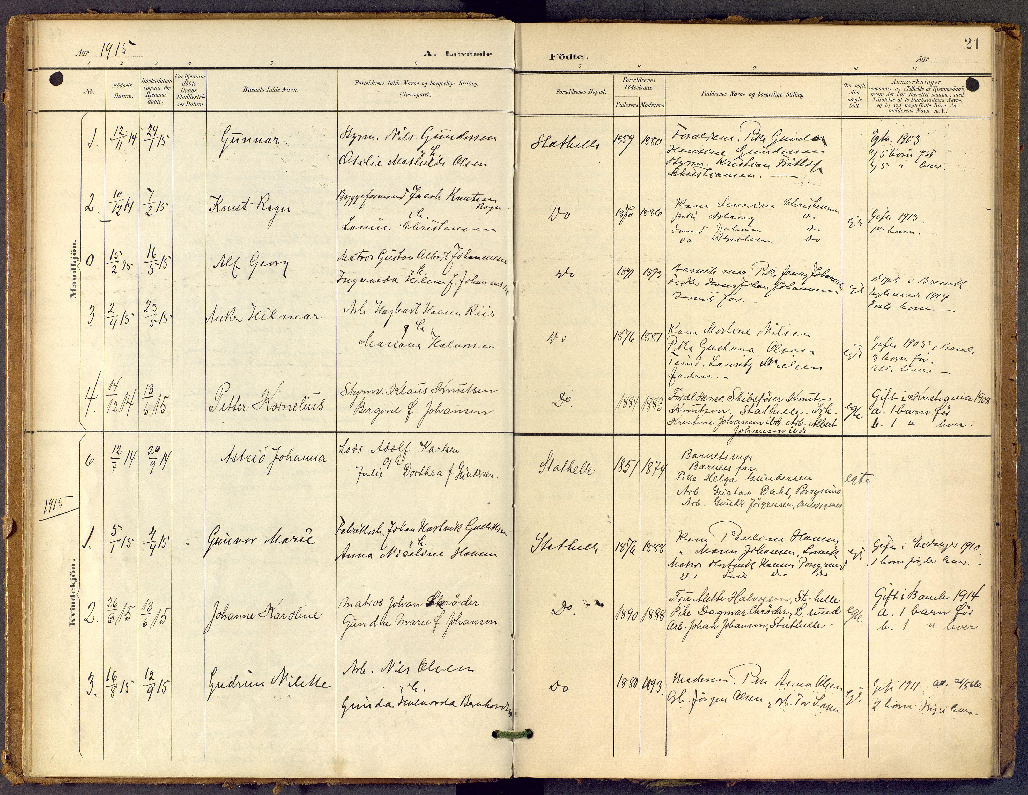 SAKO, Bamble kirkebøker, F/Fb/L0002: Ministerialbok nr. II 2, 1900-1921, s. 21