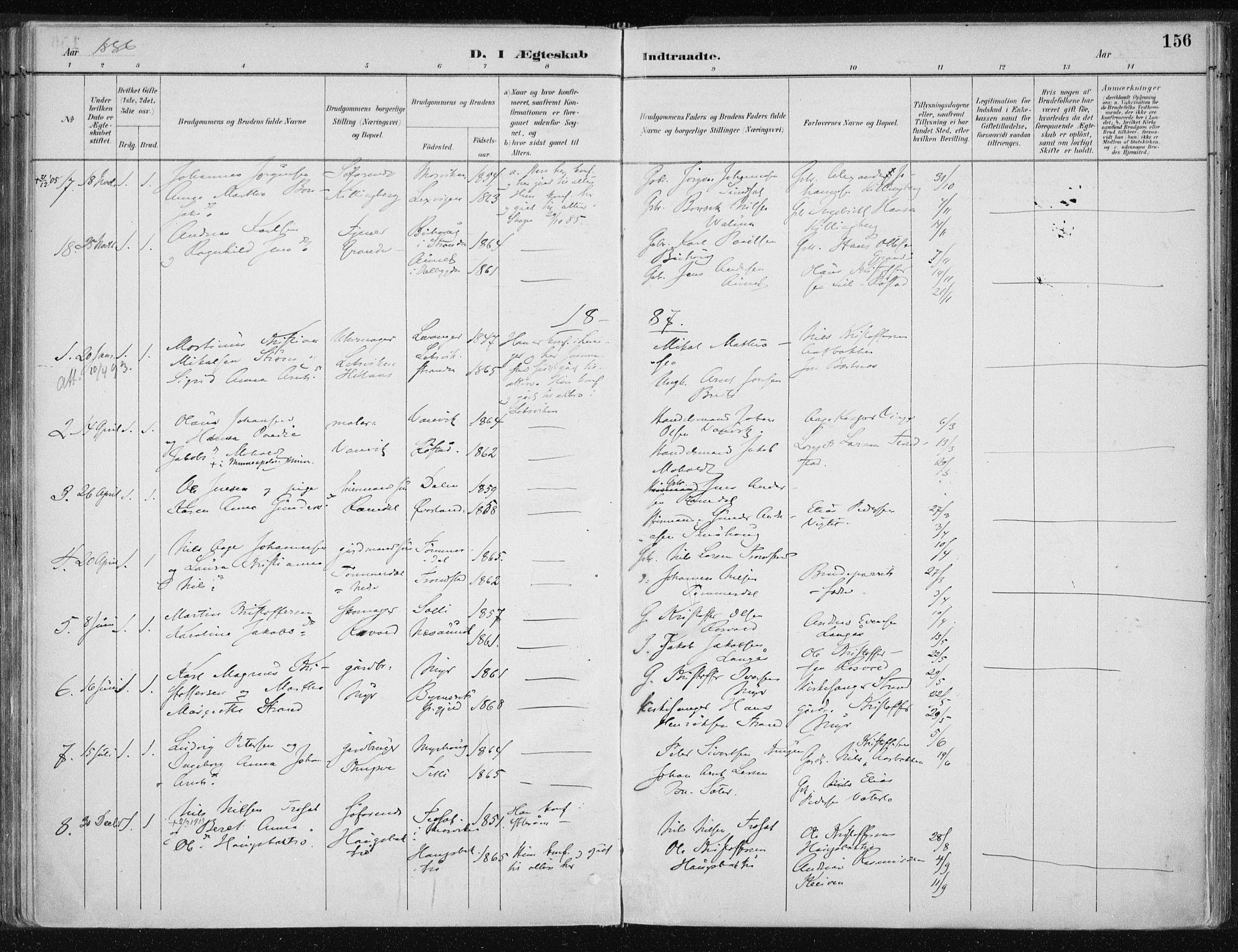 SAT, Ministerialprotokoller, klokkerbøker og fødselsregistre - Nord-Trøndelag, 701/L0010: Ministerialbok nr. 701A10, 1883-1899, s. 156