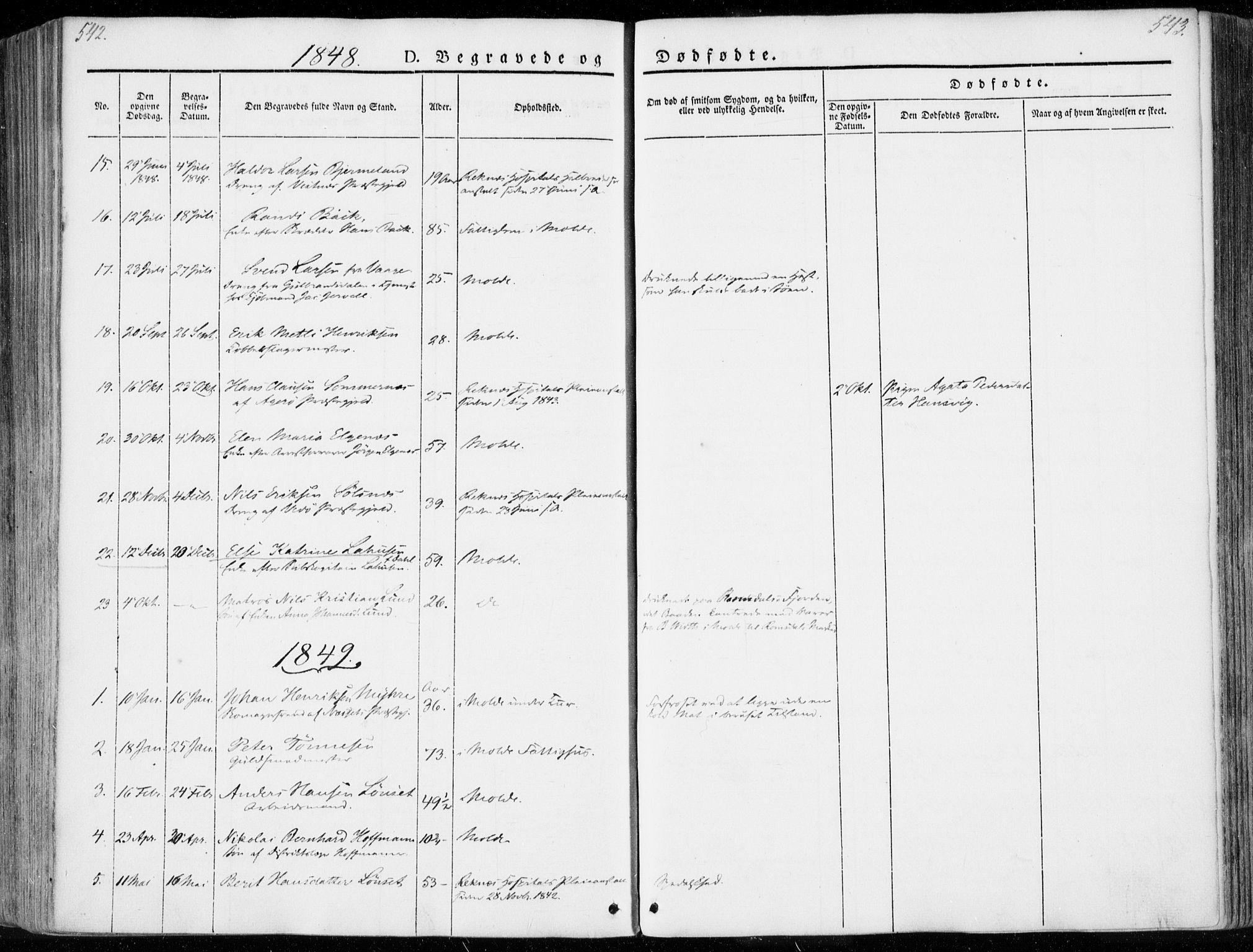 SAT, Ministerialprotokoller, klokkerbøker og fødselsregistre - Møre og Romsdal, 558/L0689: Ministerialbok nr. 558A03, 1843-1872, s. 542-543