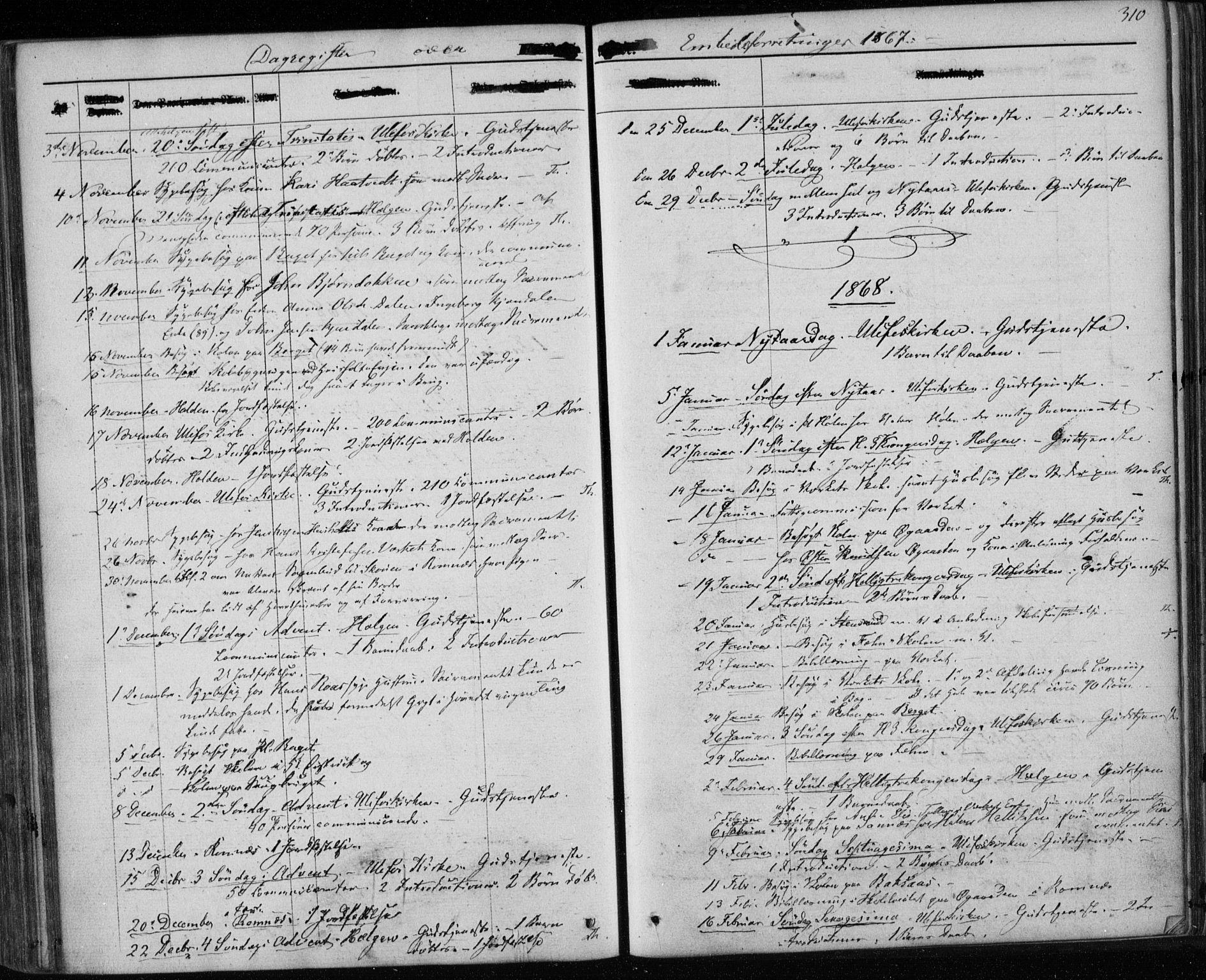 SAKO, Holla kirkebøker, F/Fa/L0006: Ministerialbok nr. 6, 1861-1869, s. 310