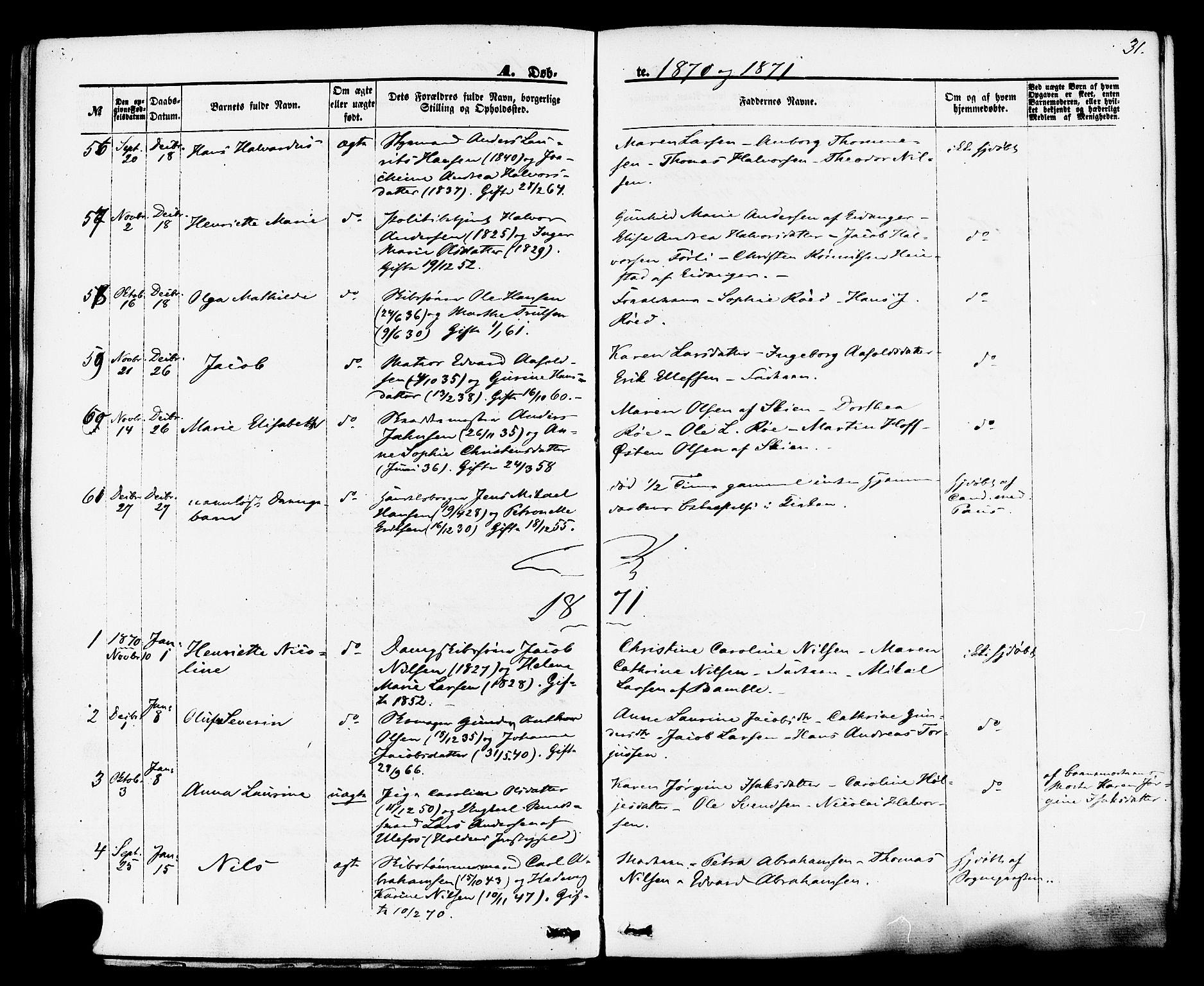 SAKO, Brevik kirkebøker, F/Fa/L0006: Ministerialbok nr. 6, 1866-1881, s. 31