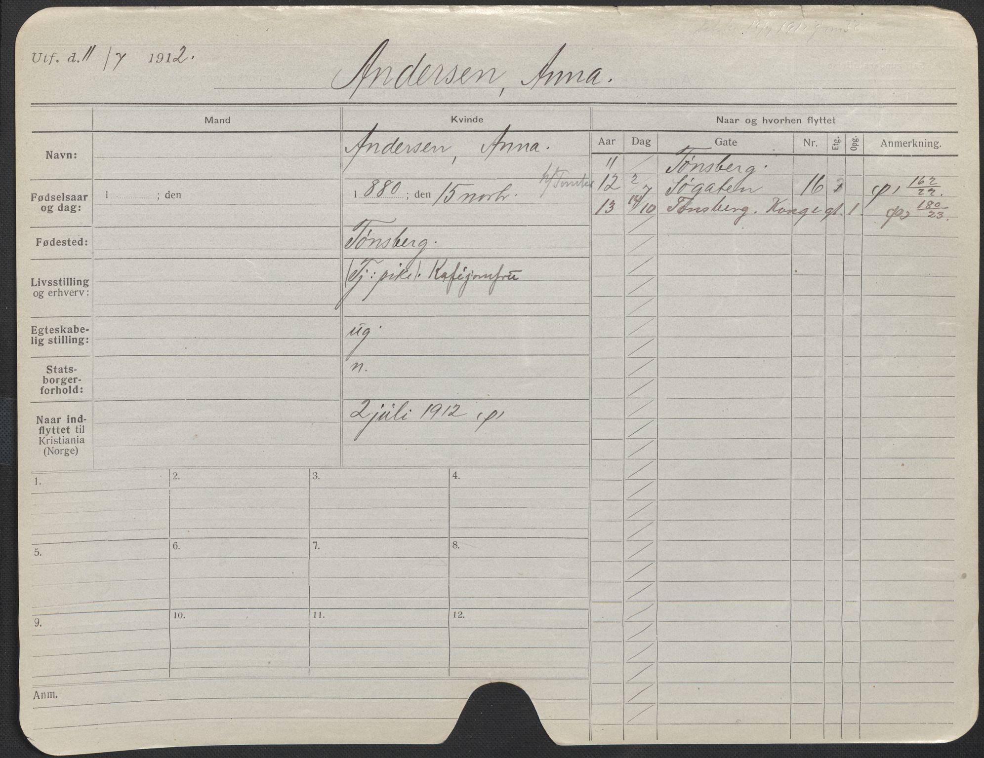SAO, Oslo folkeregister, Registerkort, F/Fa/Fac/L0012: Kvinner, 1906-1914, s. 226a