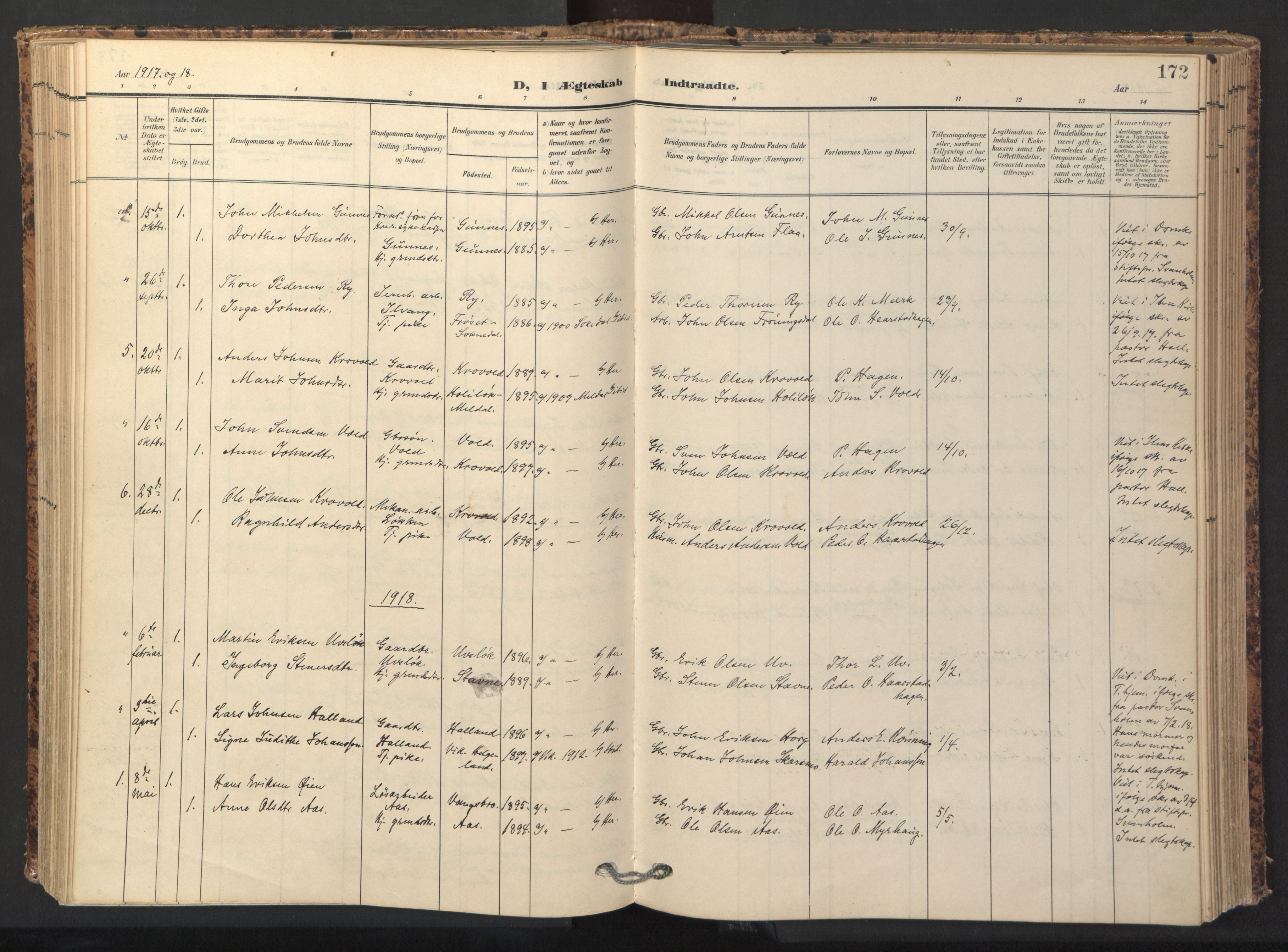 SAT, Ministerialprotokoller, klokkerbøker og fødselsregistre - Sør-Trøndelag, 674/L0873: Ministerialbok nr. 674A05, 1908-1923, s. 172