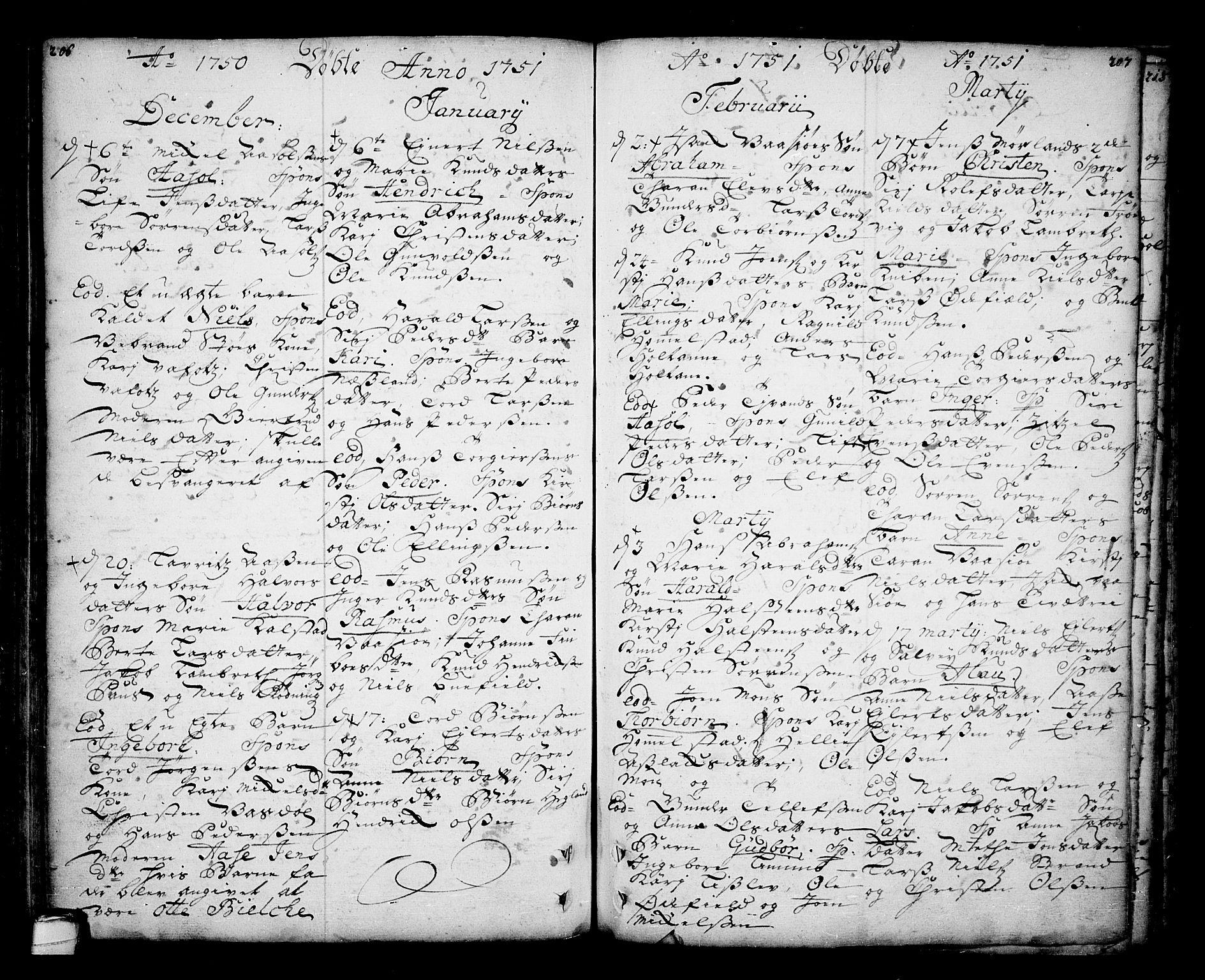 SAKO, Sannidal kirkebøker, F/Fa/L0001: Ministerialbok nr. 1, 1702-1766, s. 206-207