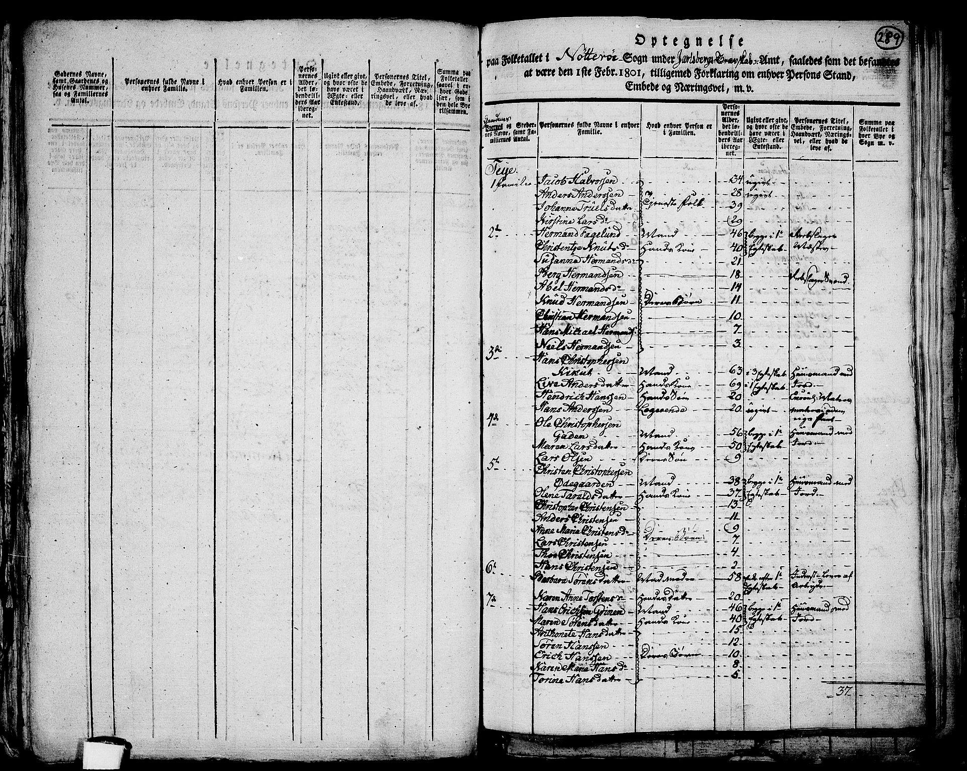 RA, Folketelling 1801 for 0722P Nøtterøy prestegjeld, 1801, s. 288b-289a