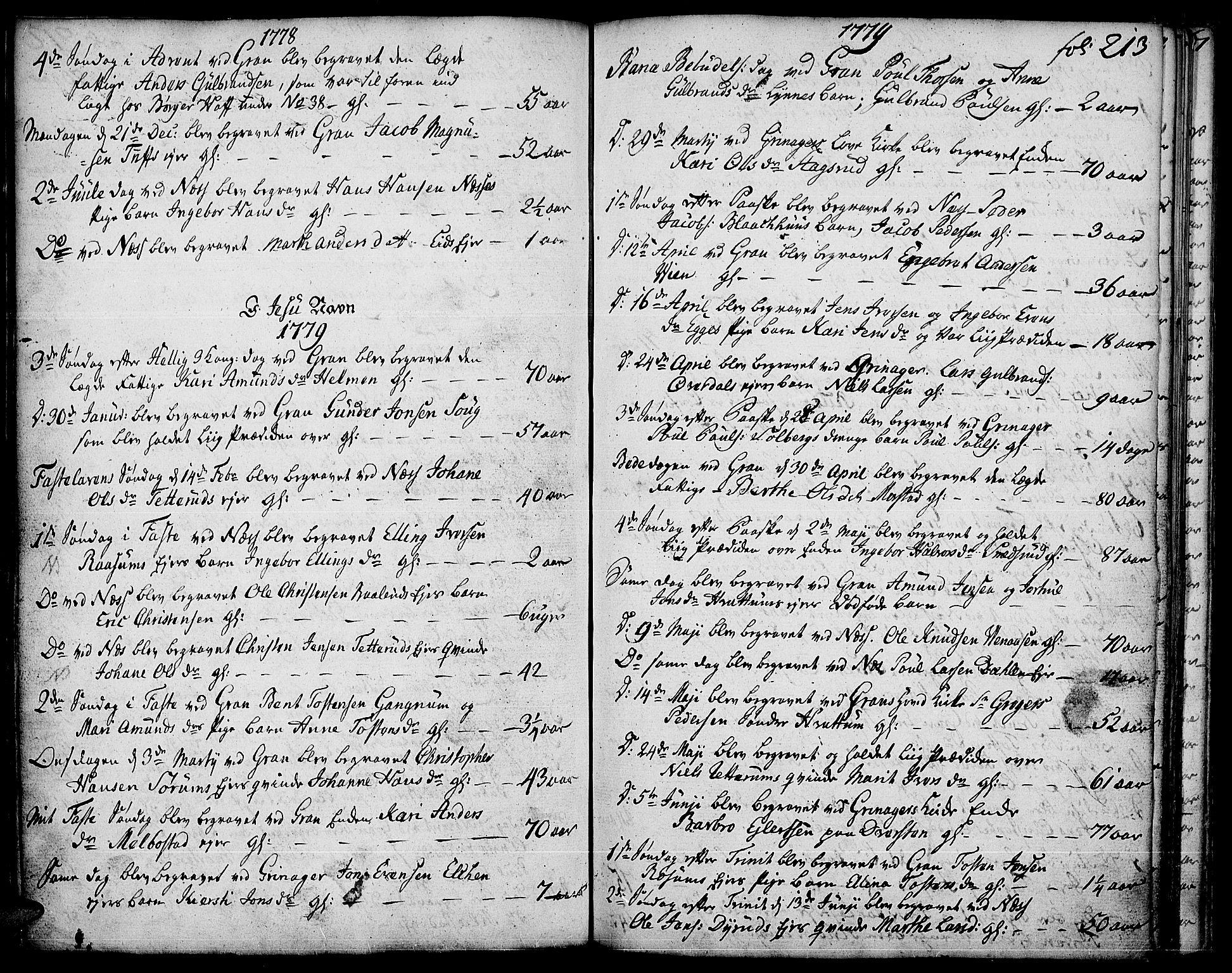SAH, Gran prestekontor, Ministerialbok nr. 5, 1776-1788, s. 213