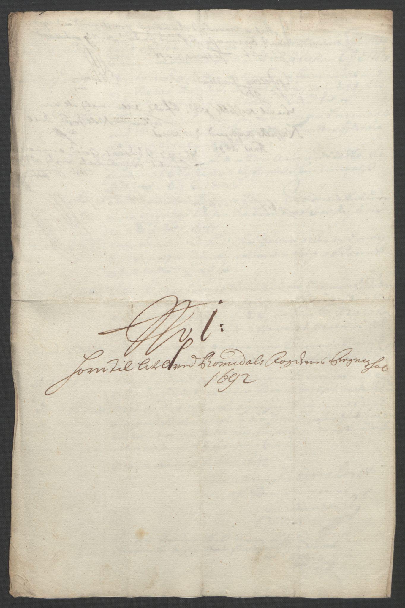 RA, Rentekammeret inntil 1814, Reviderte regnskaper, Fogderegnskap, R55/L3650: Fogderegnskap Romsdal, 1692, s. 167