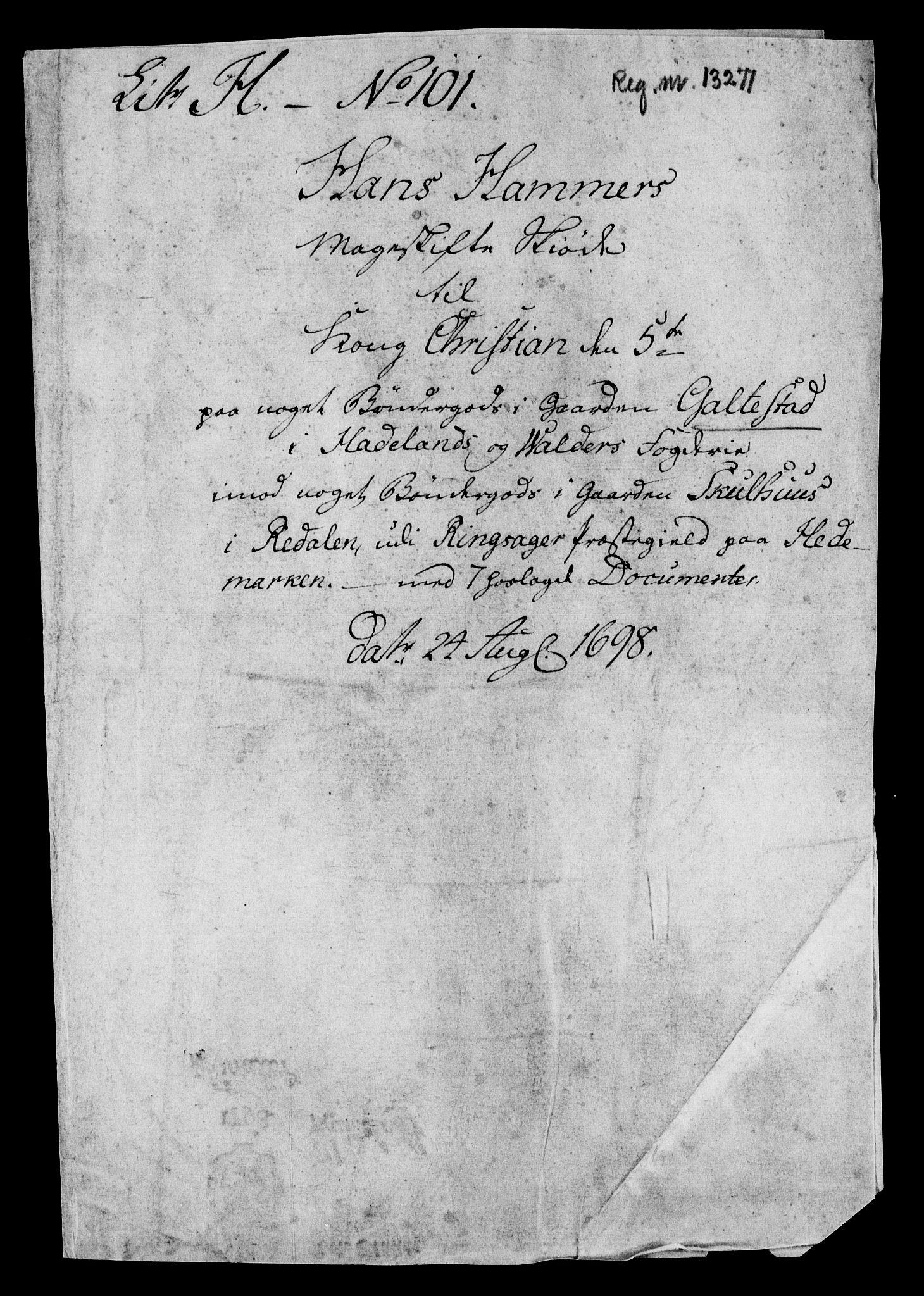 RA, Rentekammeret inntil 1814, Realistisk ordnet avdeling, On/L0013: [Jj 14]: Forskjellige dokumenter om krongodset i Norge, 1672-1722, s. 420