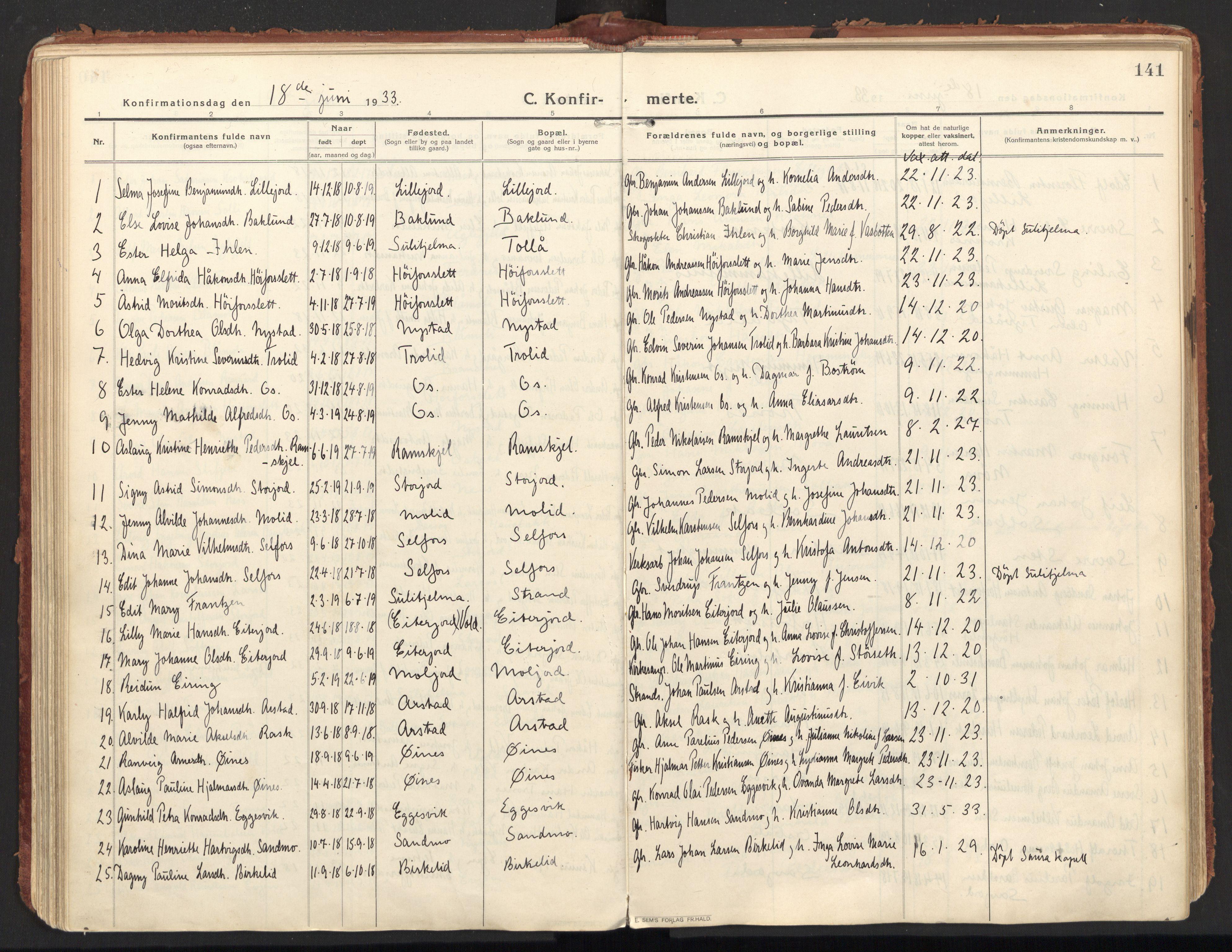 SAT, Ministerialprotokoller, klokkerbøker og fødselsregistre - Nordland, 846/L0650: Ministerialbok nr. 846A08, 1916-1935, s. 141