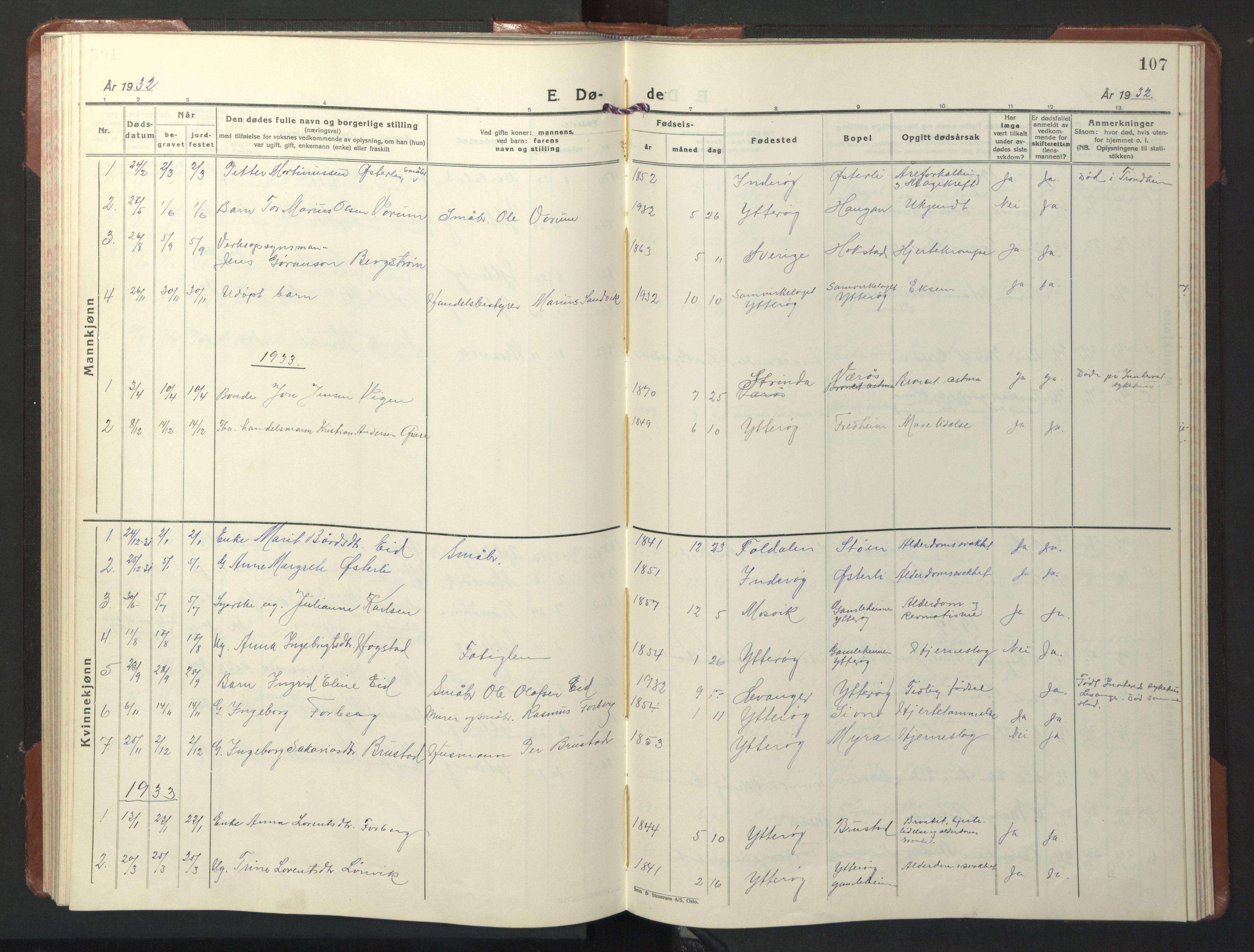 SAT, Ministerialprotokoller, klokkerbøker og fødselsregistre - Nord-Trøndelag, 722/L0227: Klokkerbok nr. 722C03, 1928-1958, s. 107